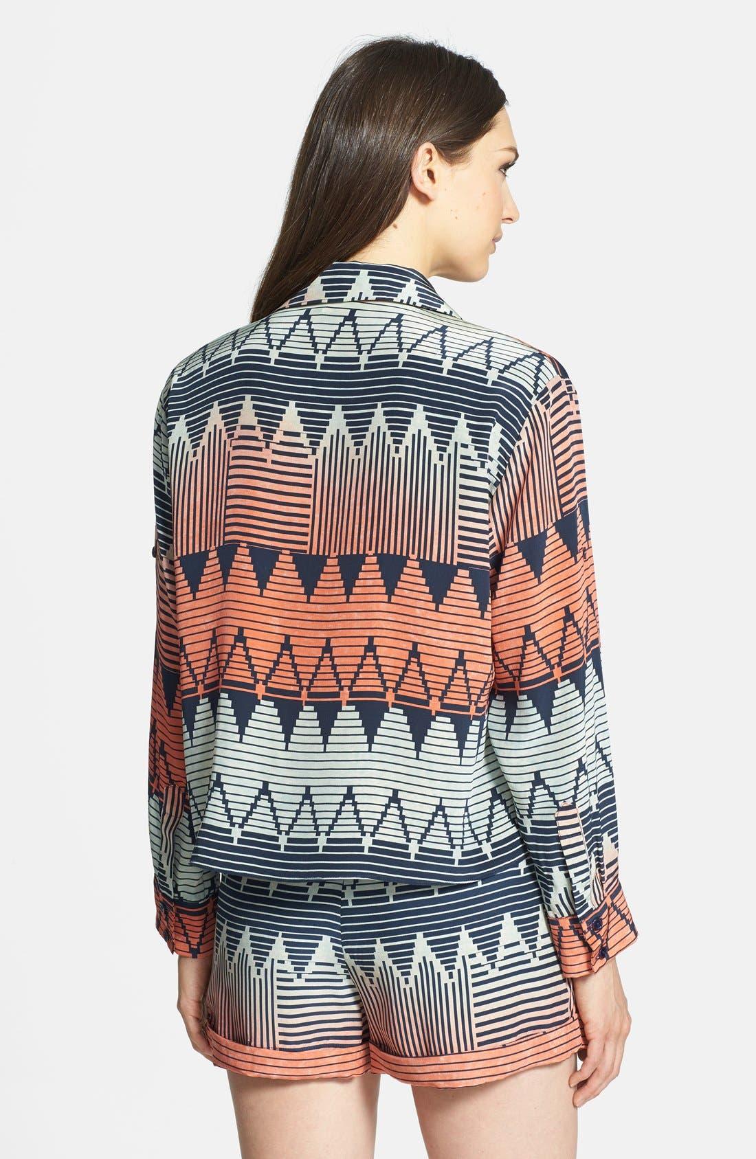 PARKER, 'Hailo' Crop Print Silk Shirt, Alternate thumbnail 3, color, 400