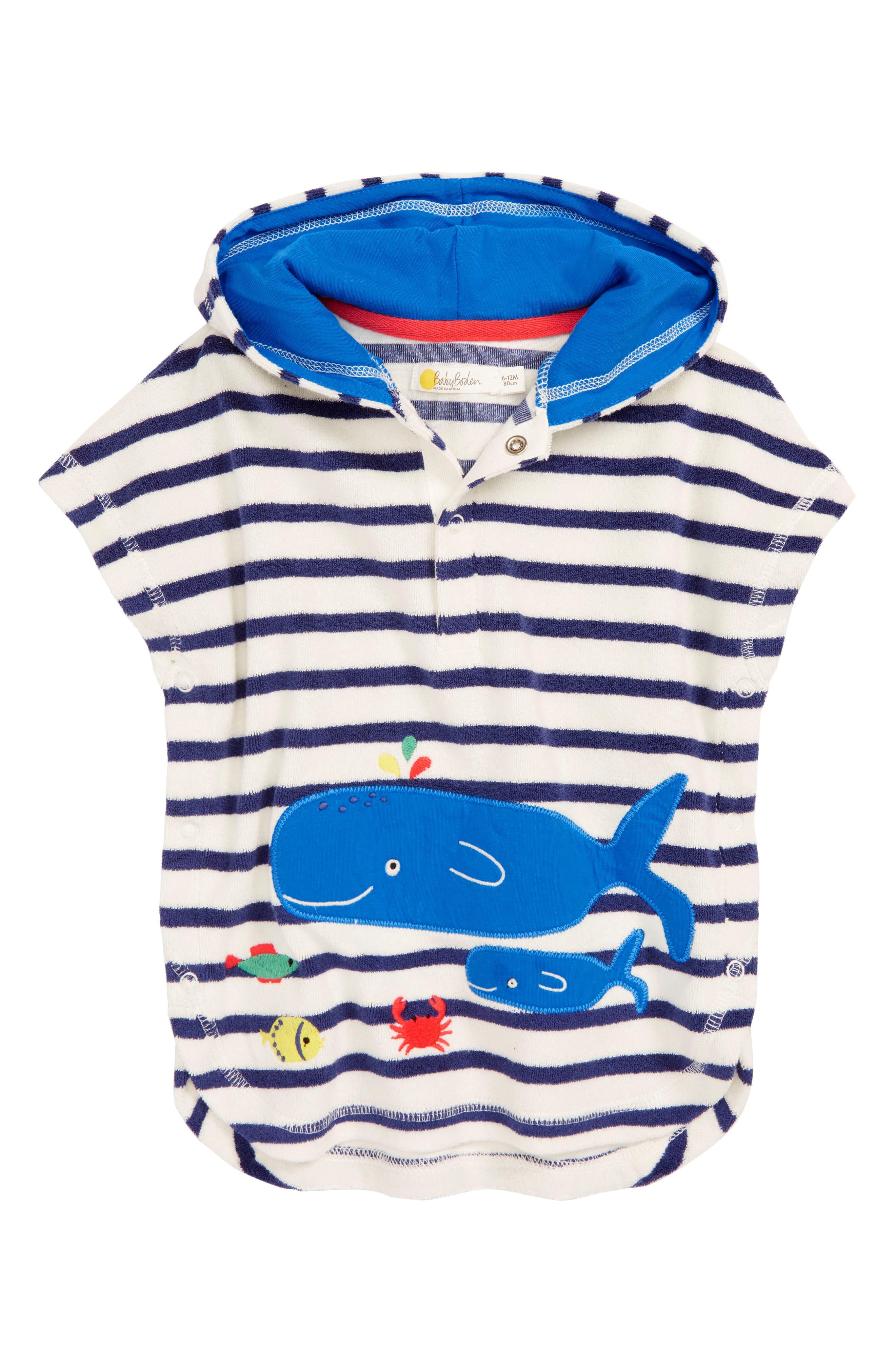 Infant Boys Mini Boden Whale Applique Hooded CoverUp Size 612M  Blue