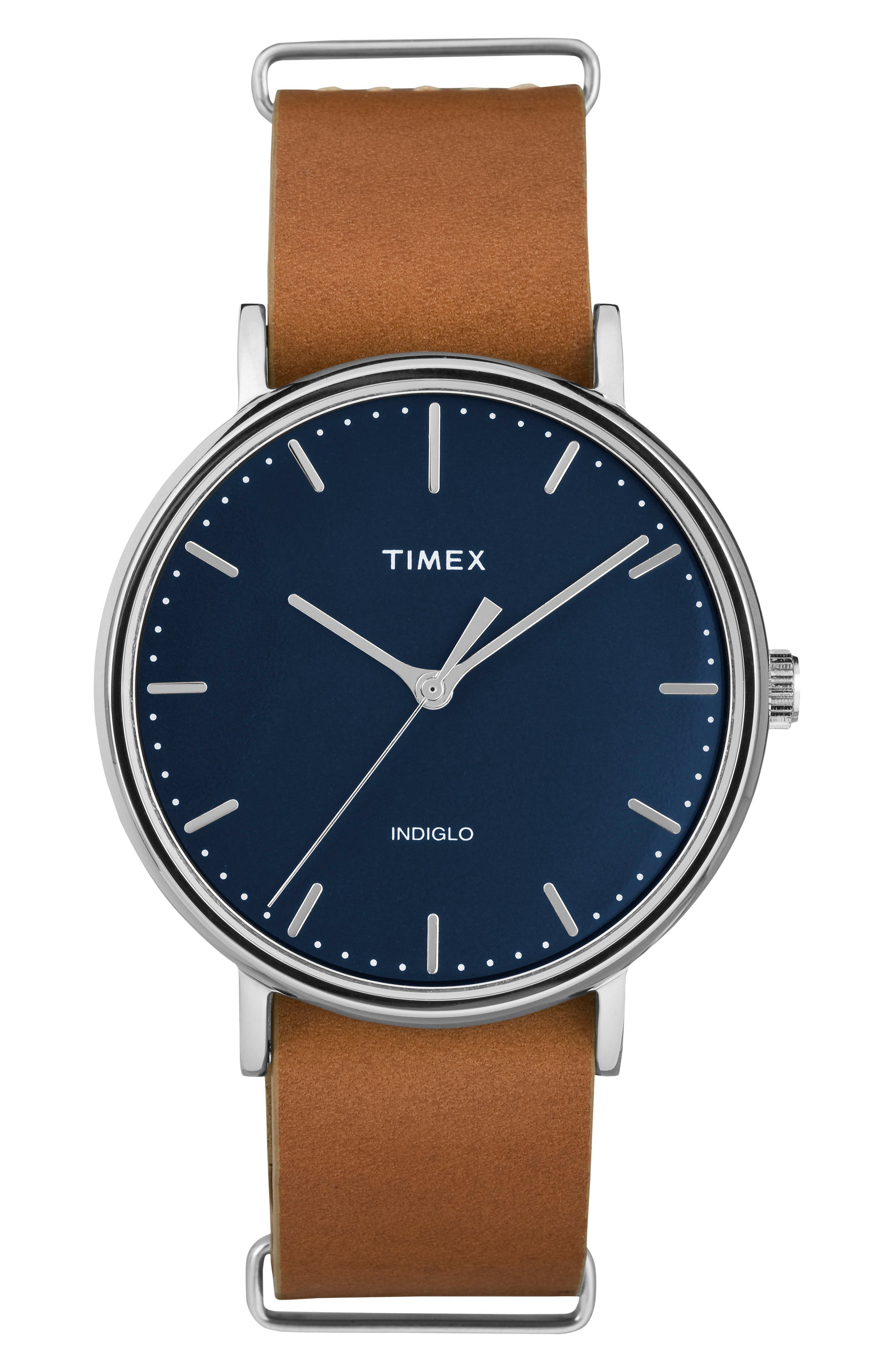 TIMEX<SUP>®</SUP> Fairfield Leather Strap Watch, 41mm, Main, color, BROWN/ BLUE/ SILVER