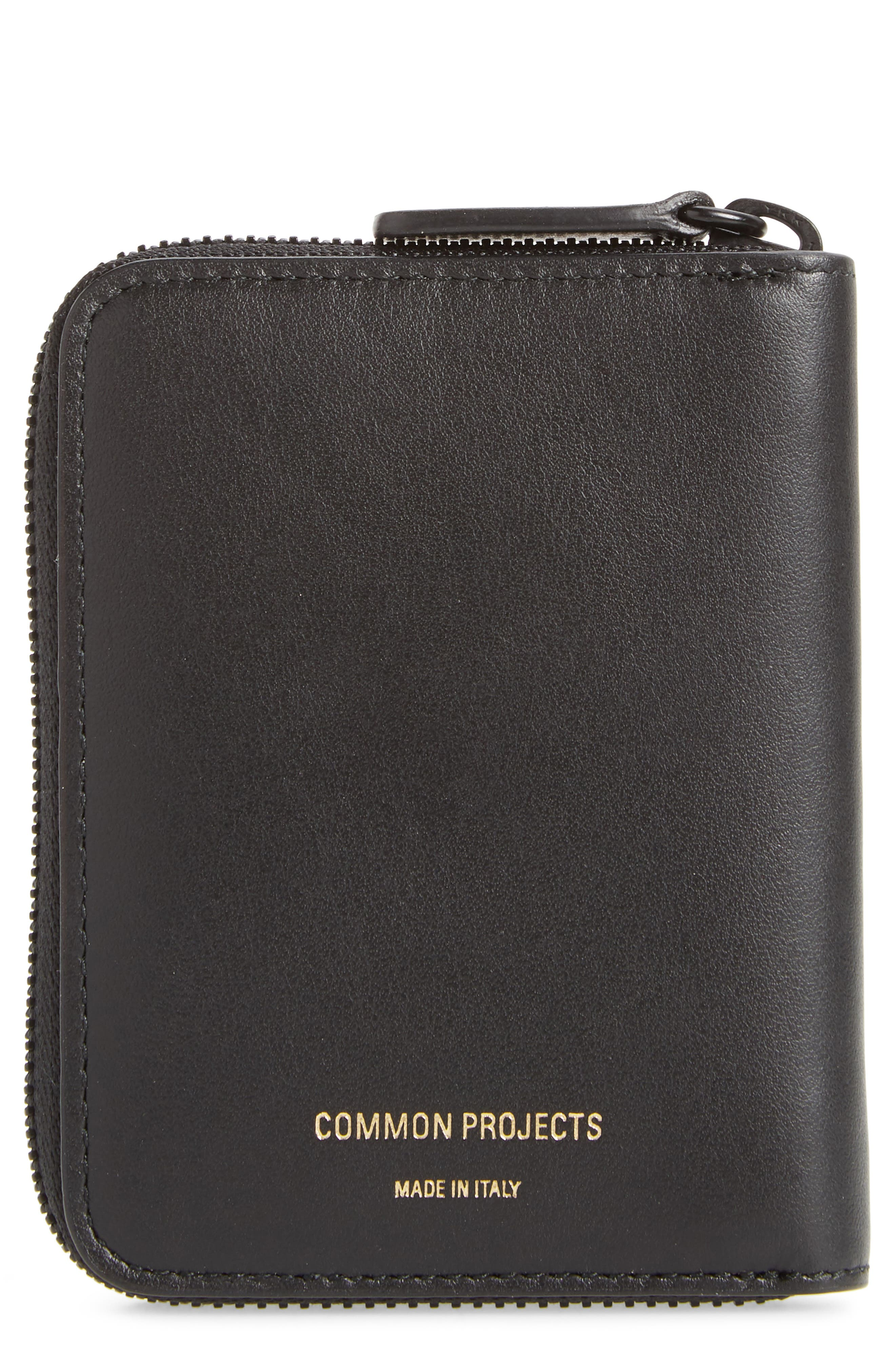 COMMON PROJECTS, Leather Coin Case, Main thumbnail 1, color, 001