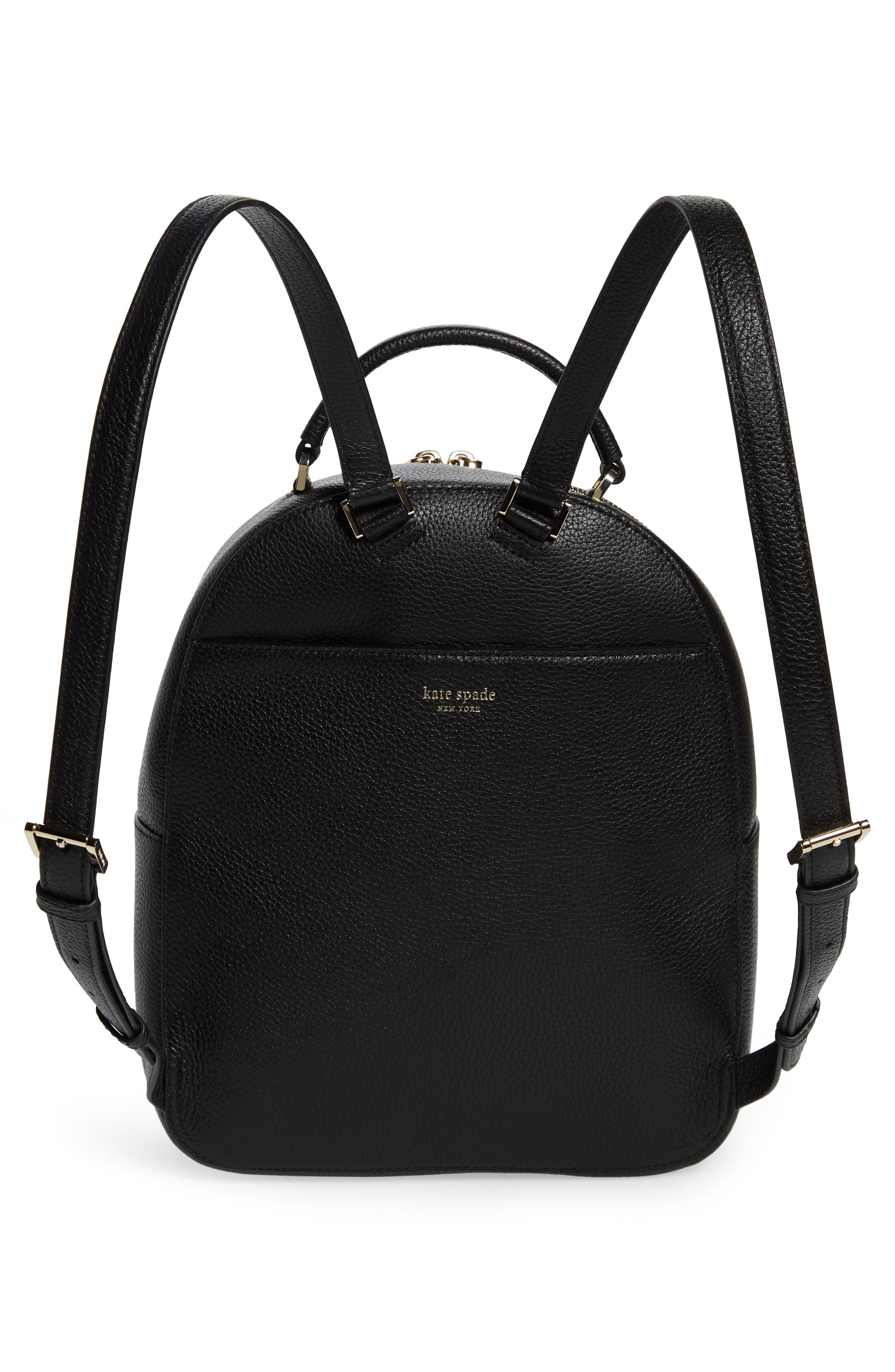 KATE SPADE NEW YORK, medium polly leather backpack, Alternate thumbnail 3, color, BLACK