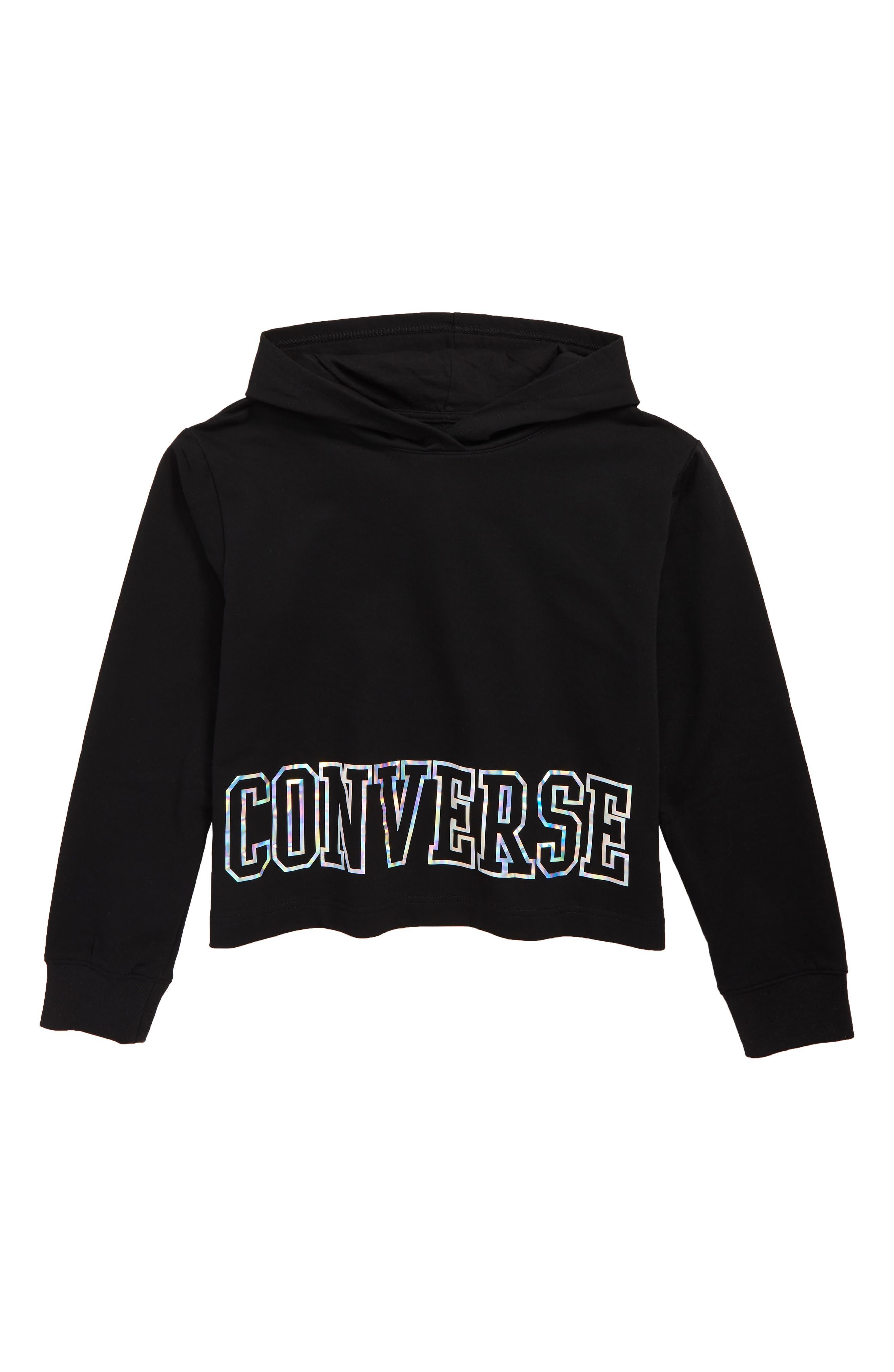 CONVERSE, Iridescent Logo Hoodie, Main thumbnail 1, color, BLACK