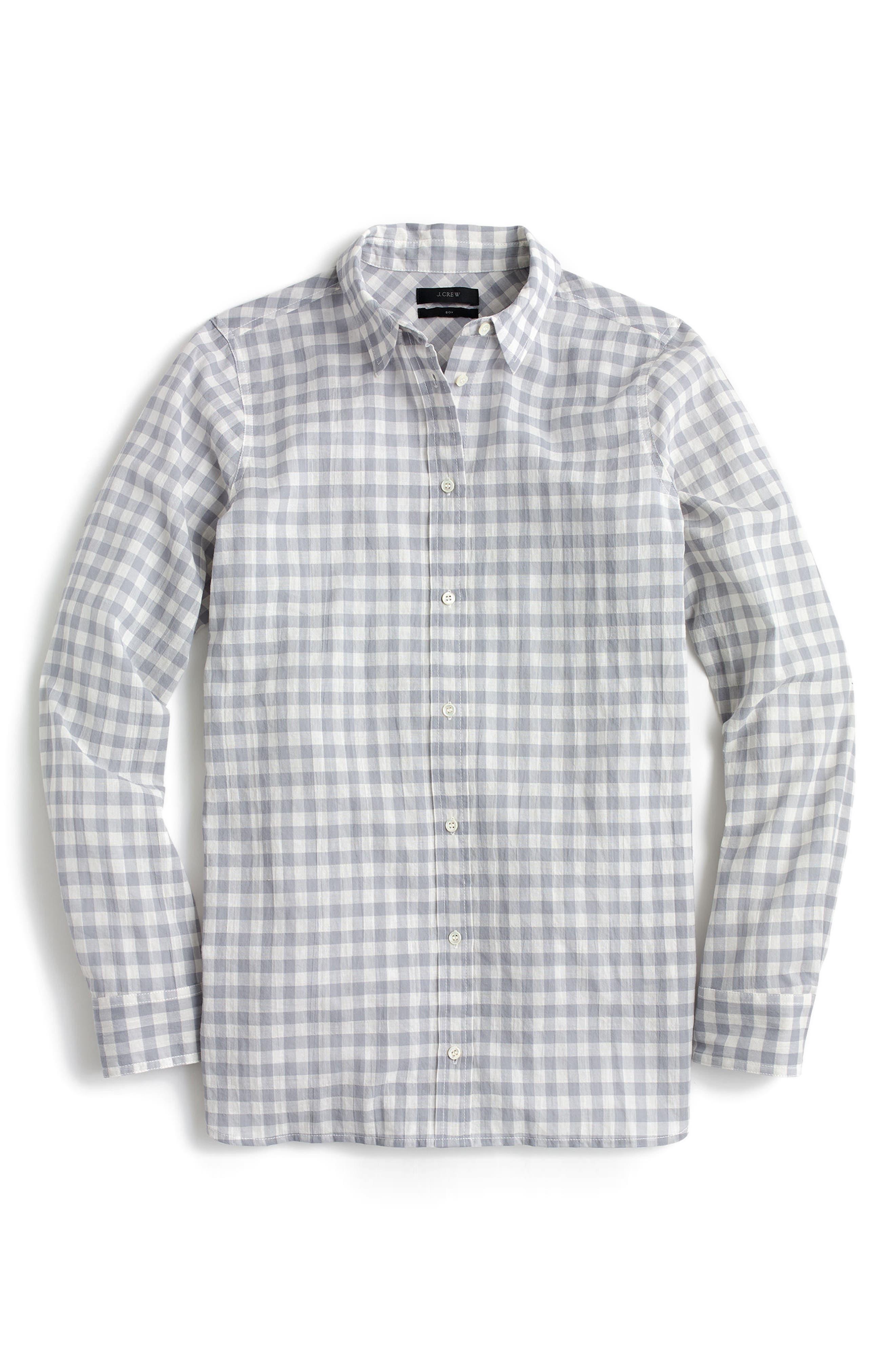 J.CREW, Crinkle Gingham Boy Shirt, Main thumbnail 1, color, 020