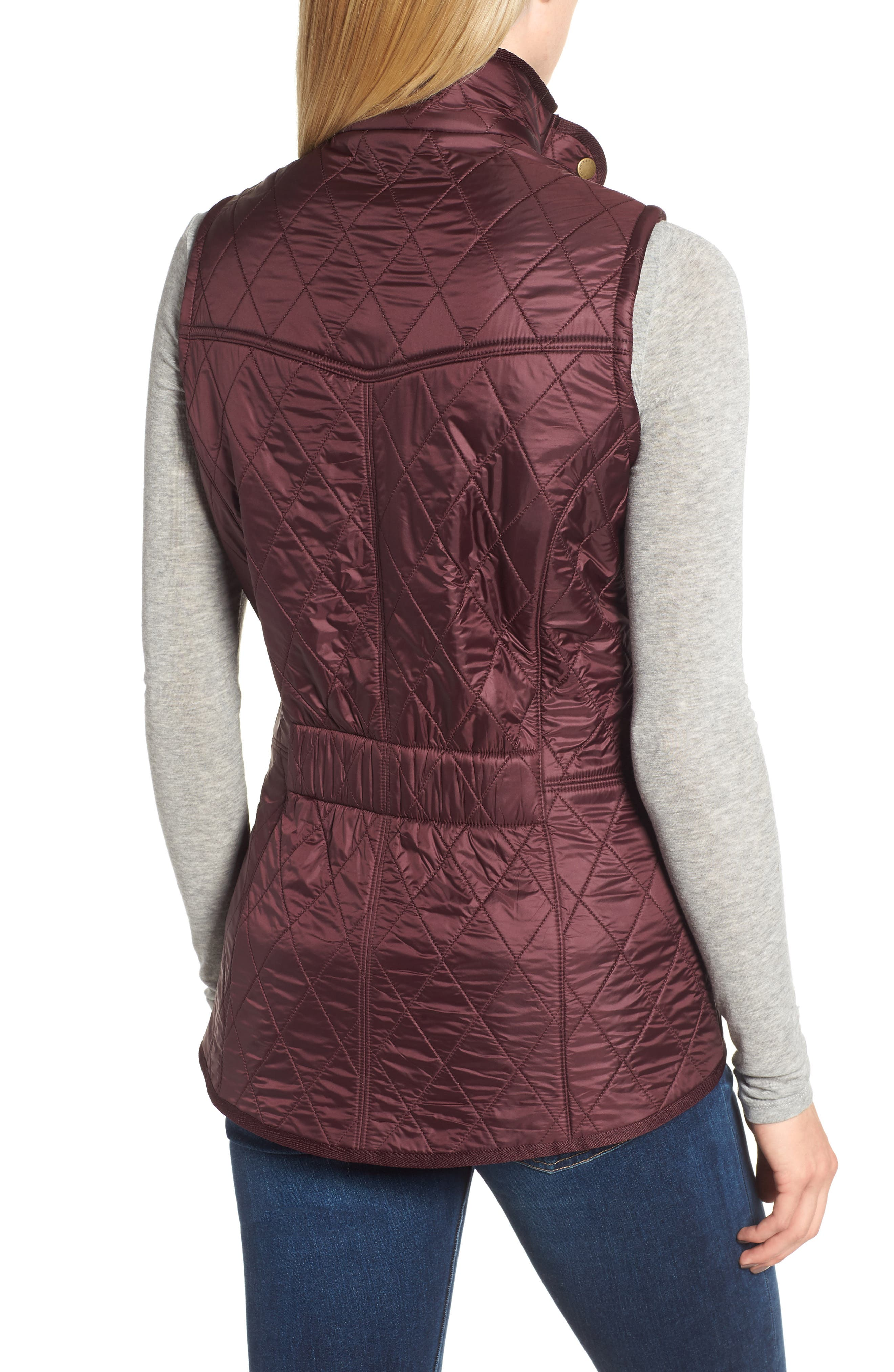 BARBOUR, 'Cavalry' Quilted Vest, Alternate thumbnail 2, color, AUBERGINE/ NAVY