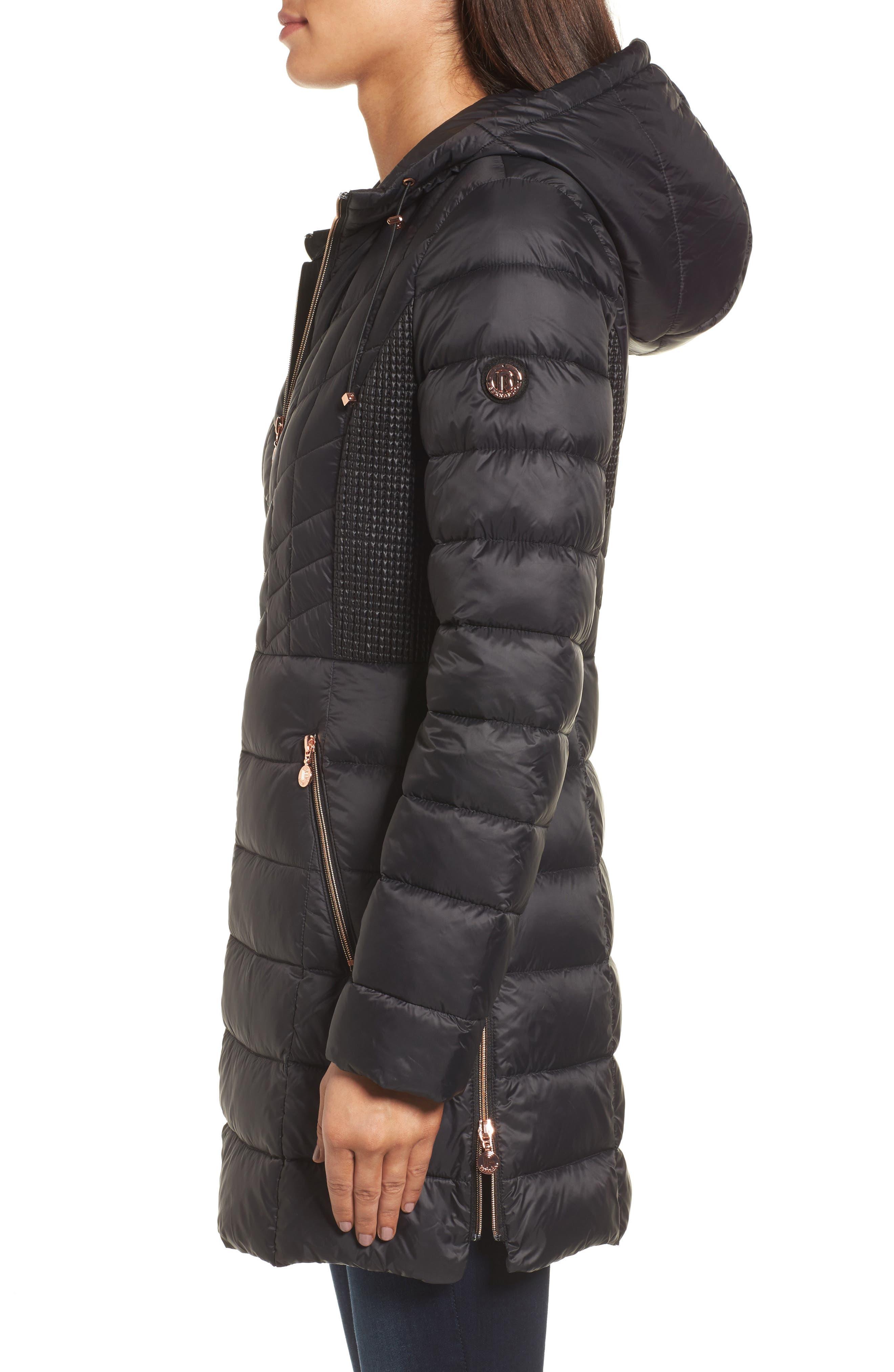 BERNARDO, Hooded Packable Down & PrimaLoft<sup>®</sup> Coat, Alternate thumbnail 4, color, BLACK