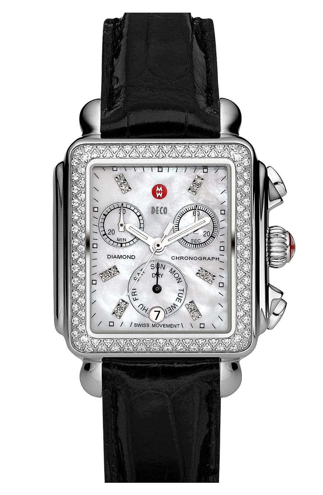 MICHELE, Deco Diamond Diamond Dial Watch Head, 33mm x 35mm, Alternate thumbnail 8, color, SILVER