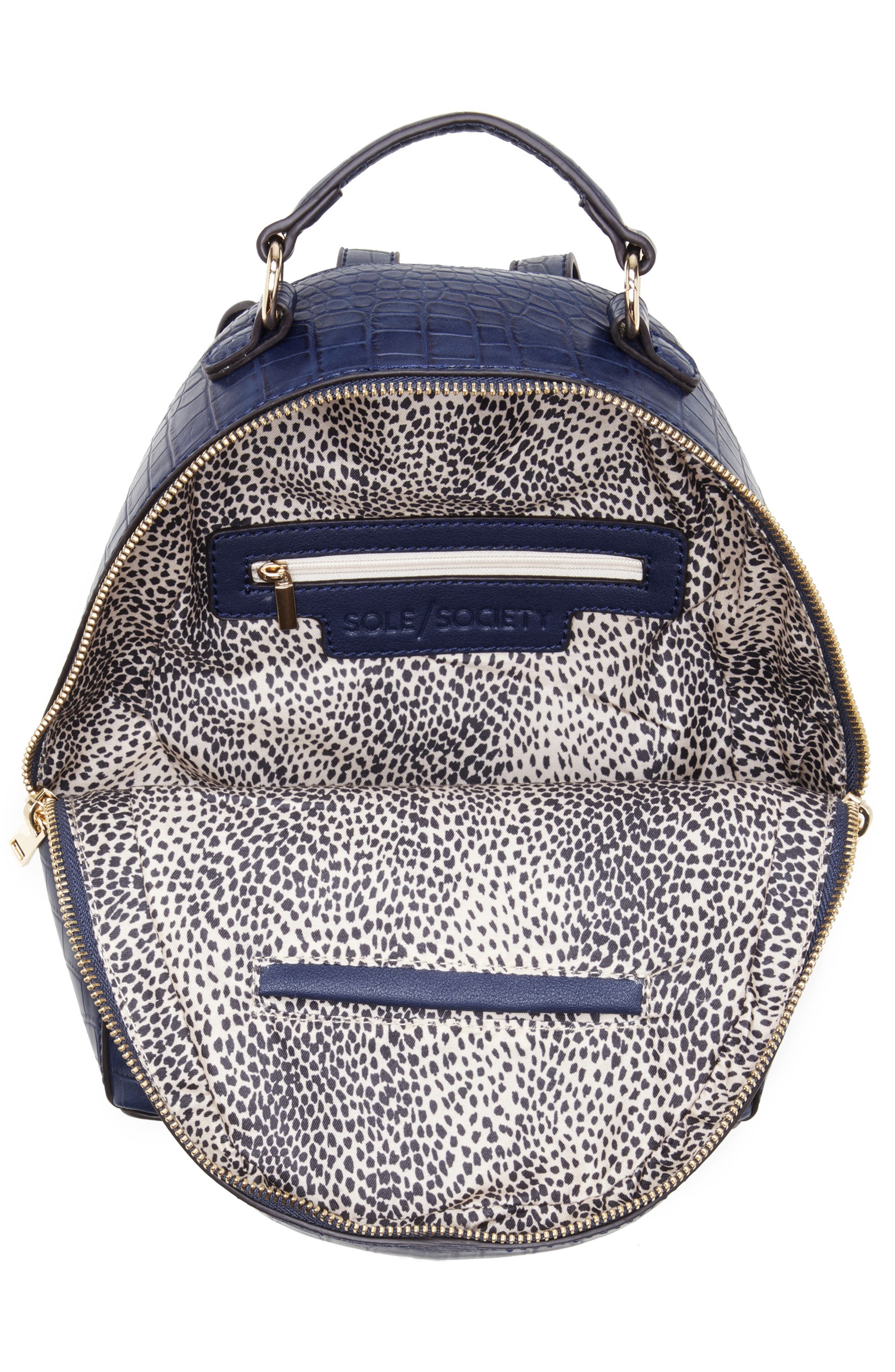 SOLE SOCIETY, Jamya Croc Embossed Faux Leather Backpack, Alternate thumbnail 4, color, MIDNIGHT
