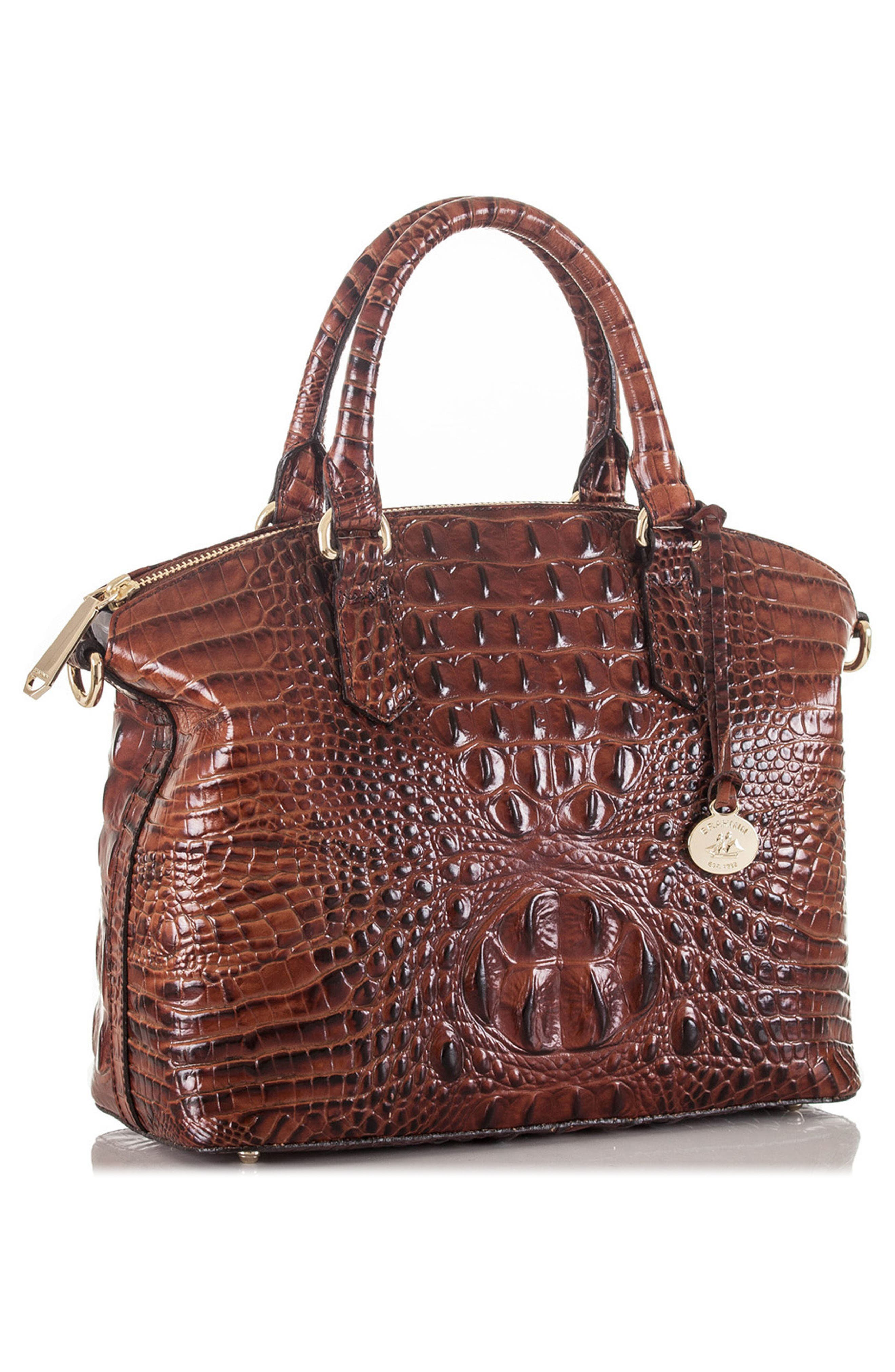 BRAHMIN, 'Medium Duxbury' Croc Embossed Leather Satchel, Alternate thumbnail 5, color, PECAN