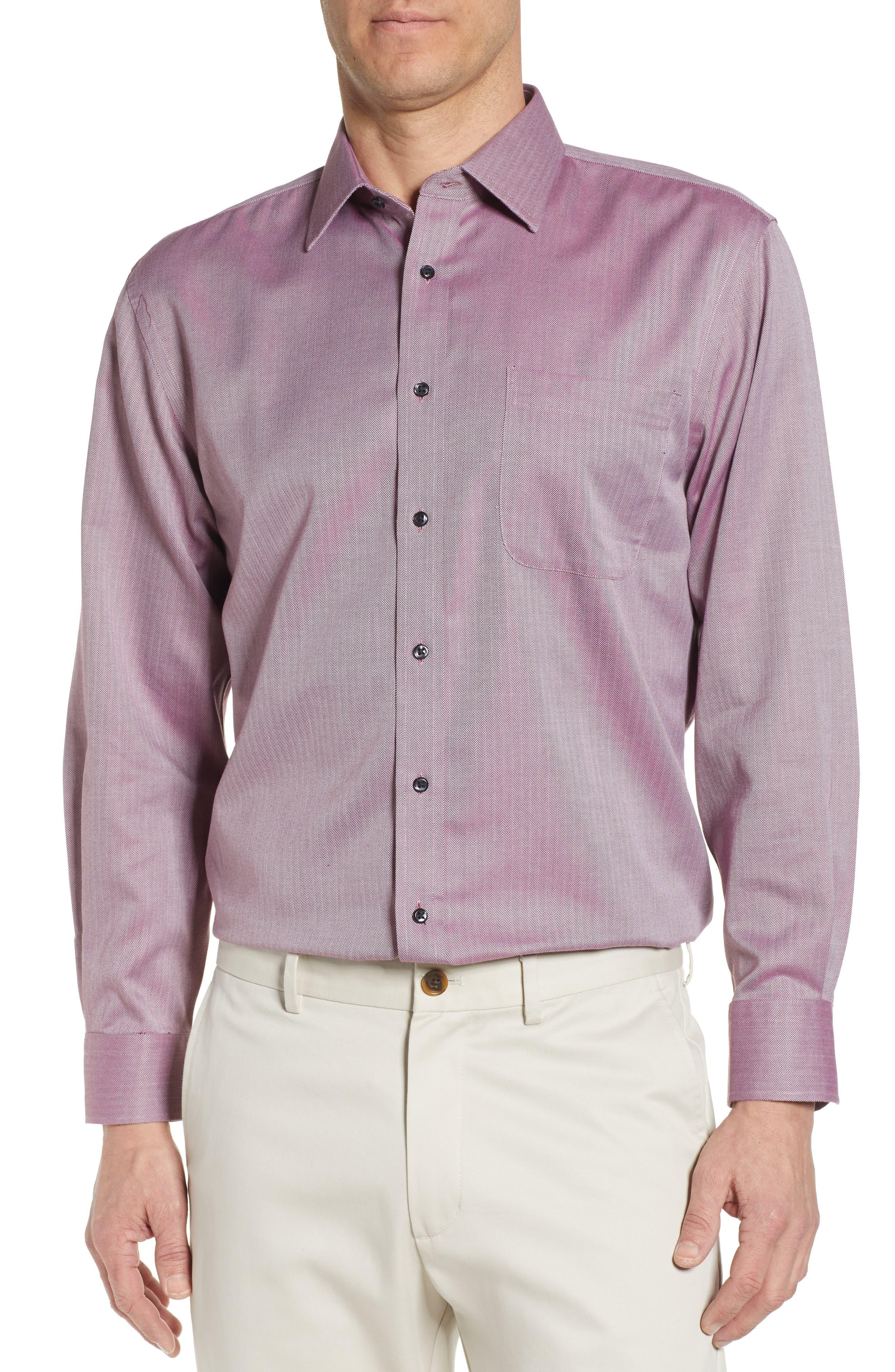 NORDSTROM MEN'S SHOP, Smartcare<sup>™</sup> Traditional Fit Herringbone Dress Shirt, Main thumbnail 1, color, BURGUNDY ROYALE
