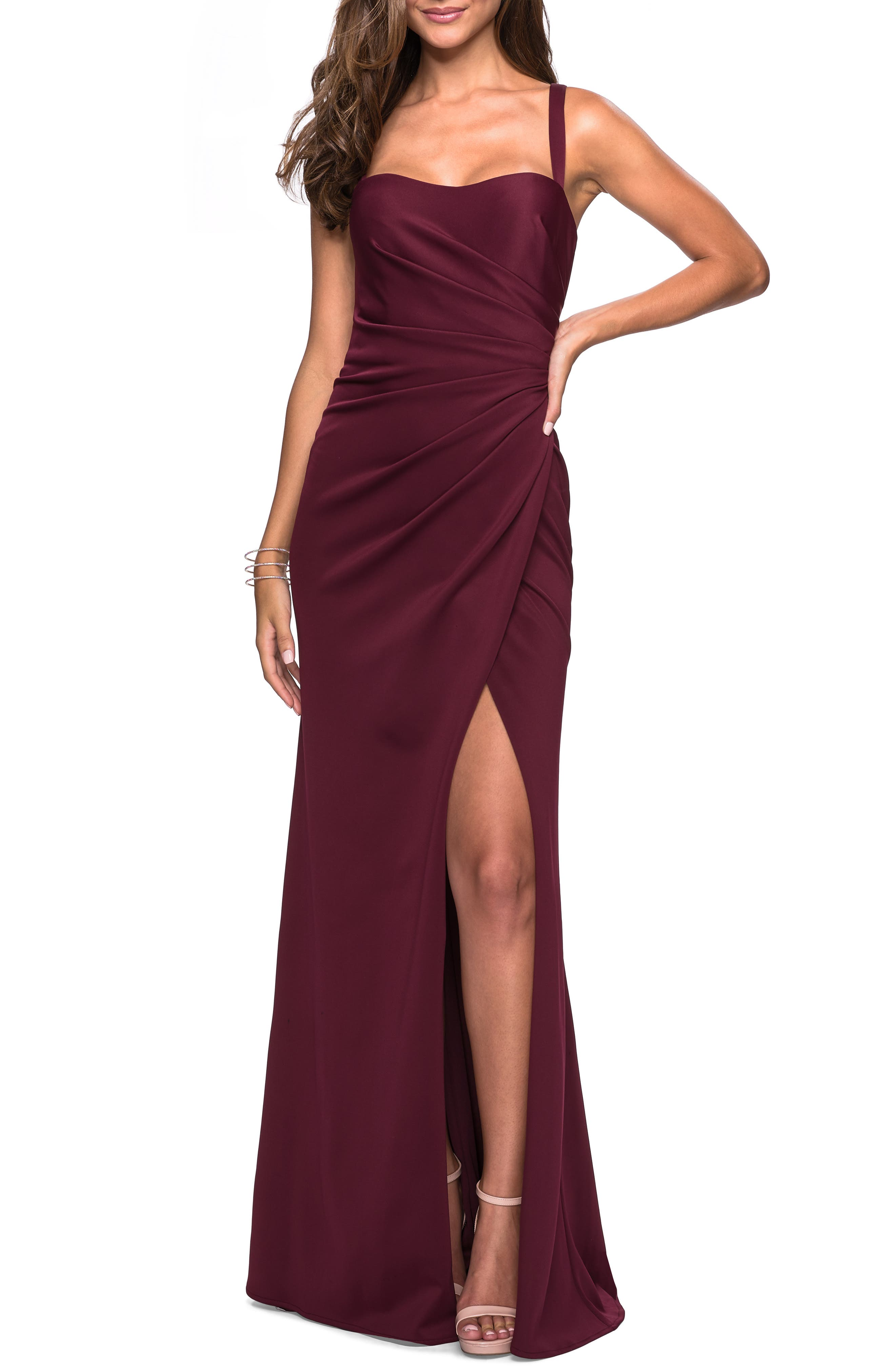 La Femme Ruched Soft Jersey Evening Dress, Burgundy