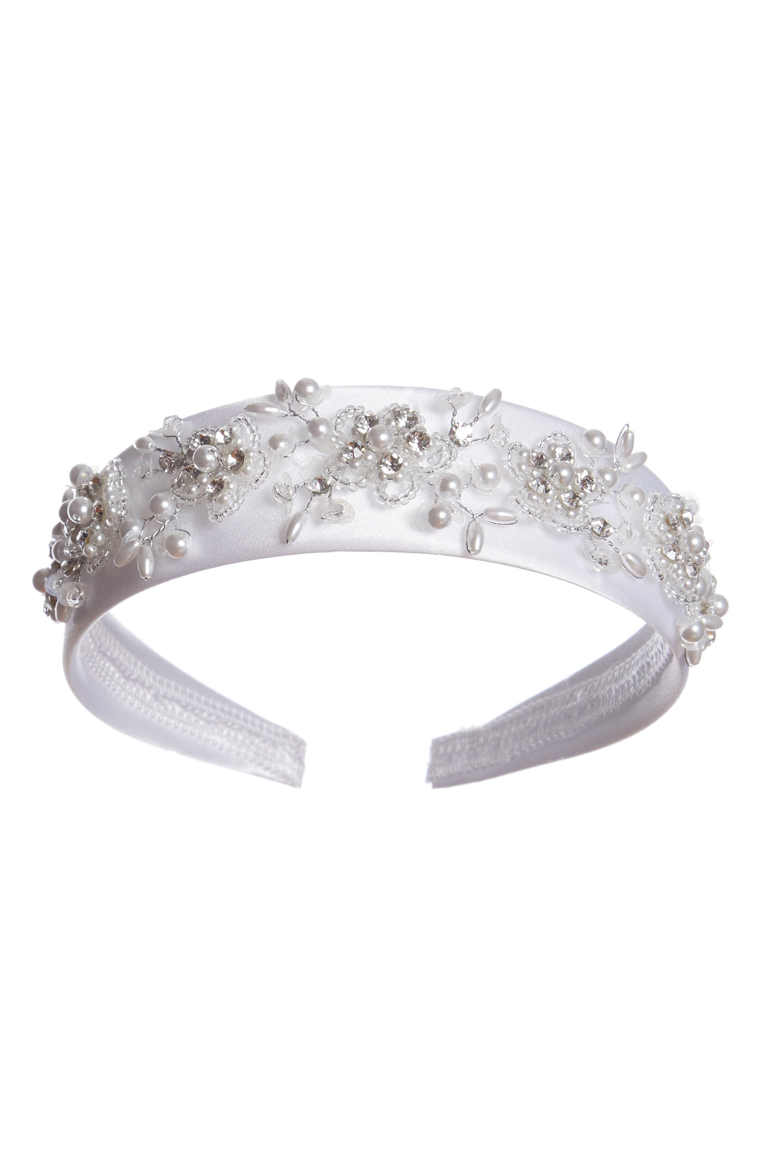 LAUREN MARIE, First Communion Crystal Headband, Main thumbnail 1, color, 100