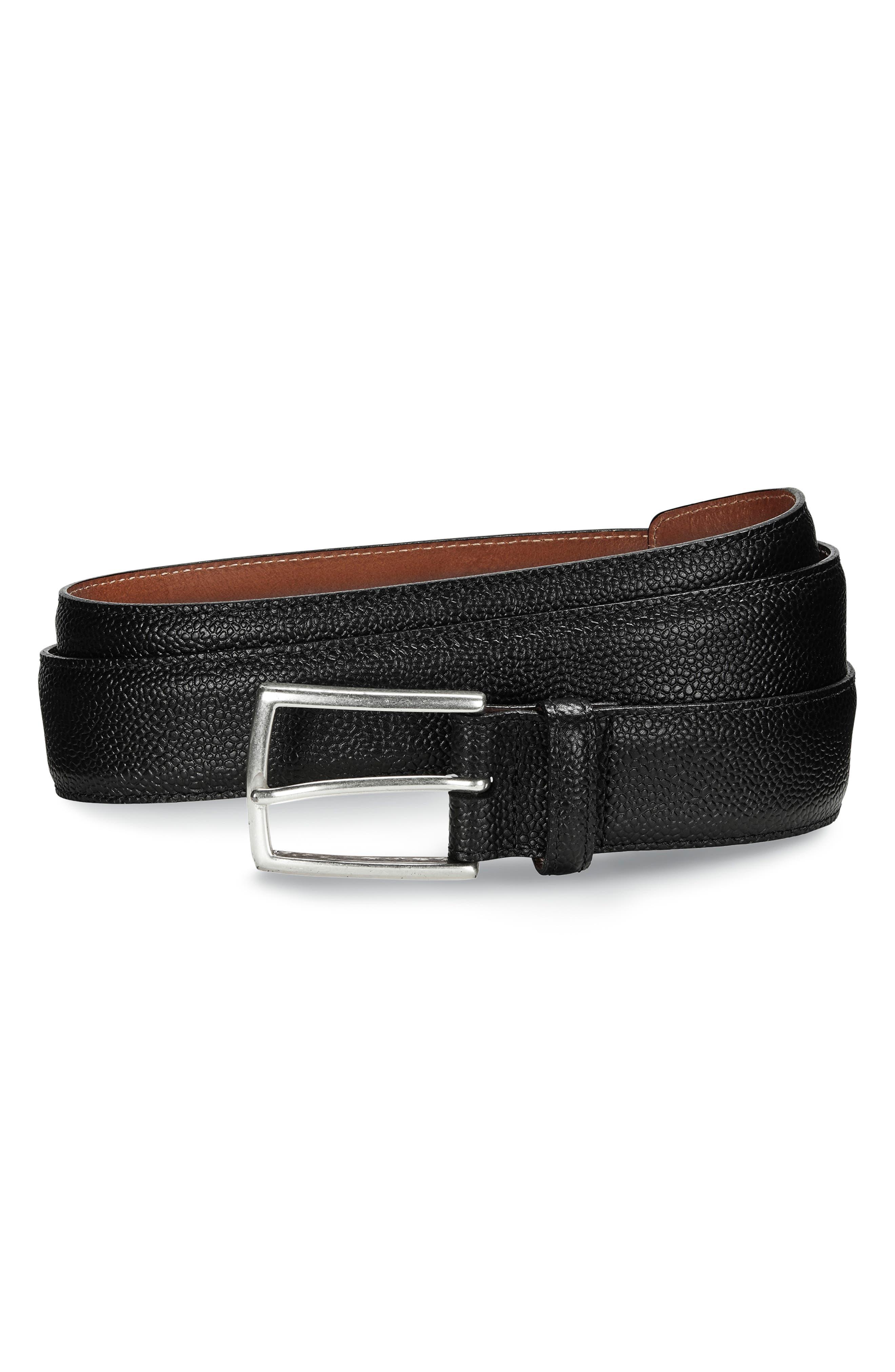 ALLEN EDMONDS, Allen Edmoinds Hara Avenue Leather Belt, Main thumbnail 1, color, BLACK