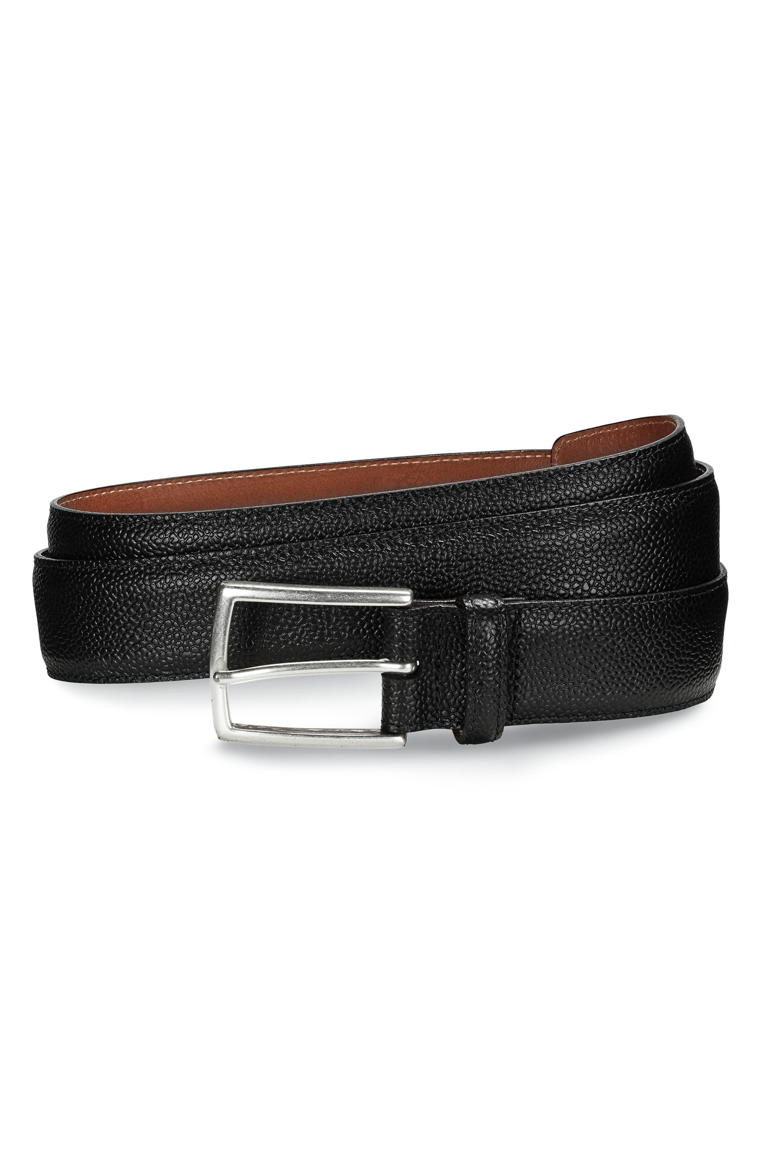 ALLEN EDMONDS Allen Edmoinds Hara Avenue Leather Belt, Main, color, BLACK