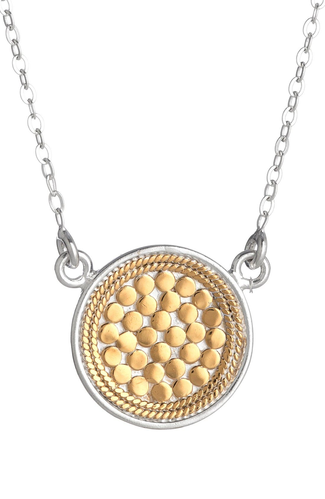 ANNA BECK, Reversible Disc Necklace, Main thumbnail 1, color, GOLD/ SILVER
