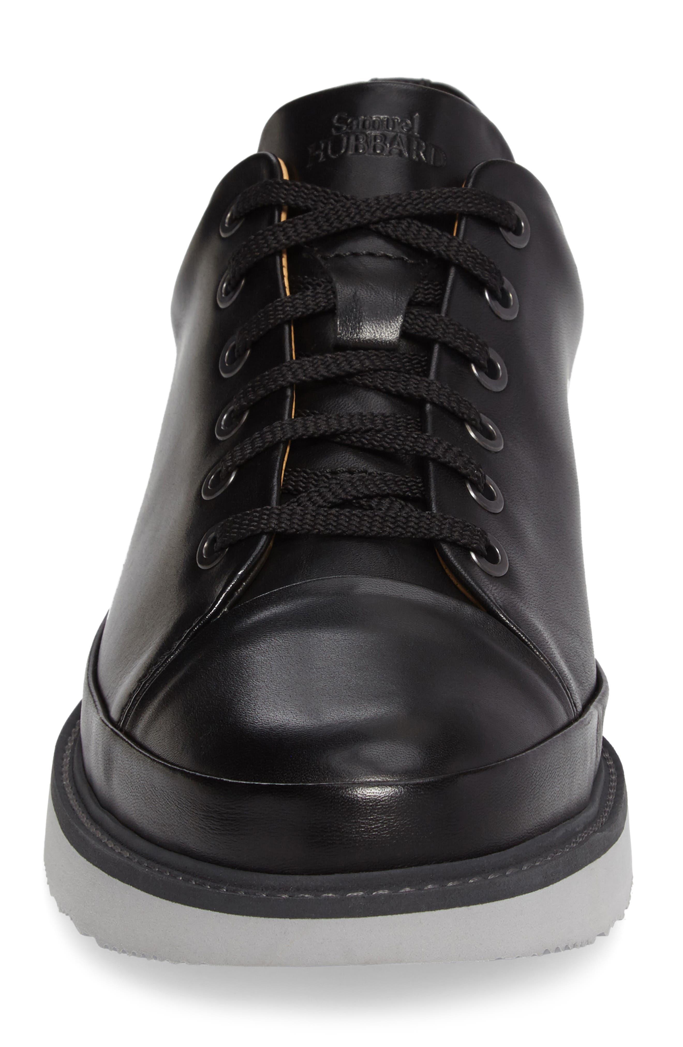 SAMUEL HUBBARD, Sneaker, Alternate thumbnail 4, color, BLACK LEATHER