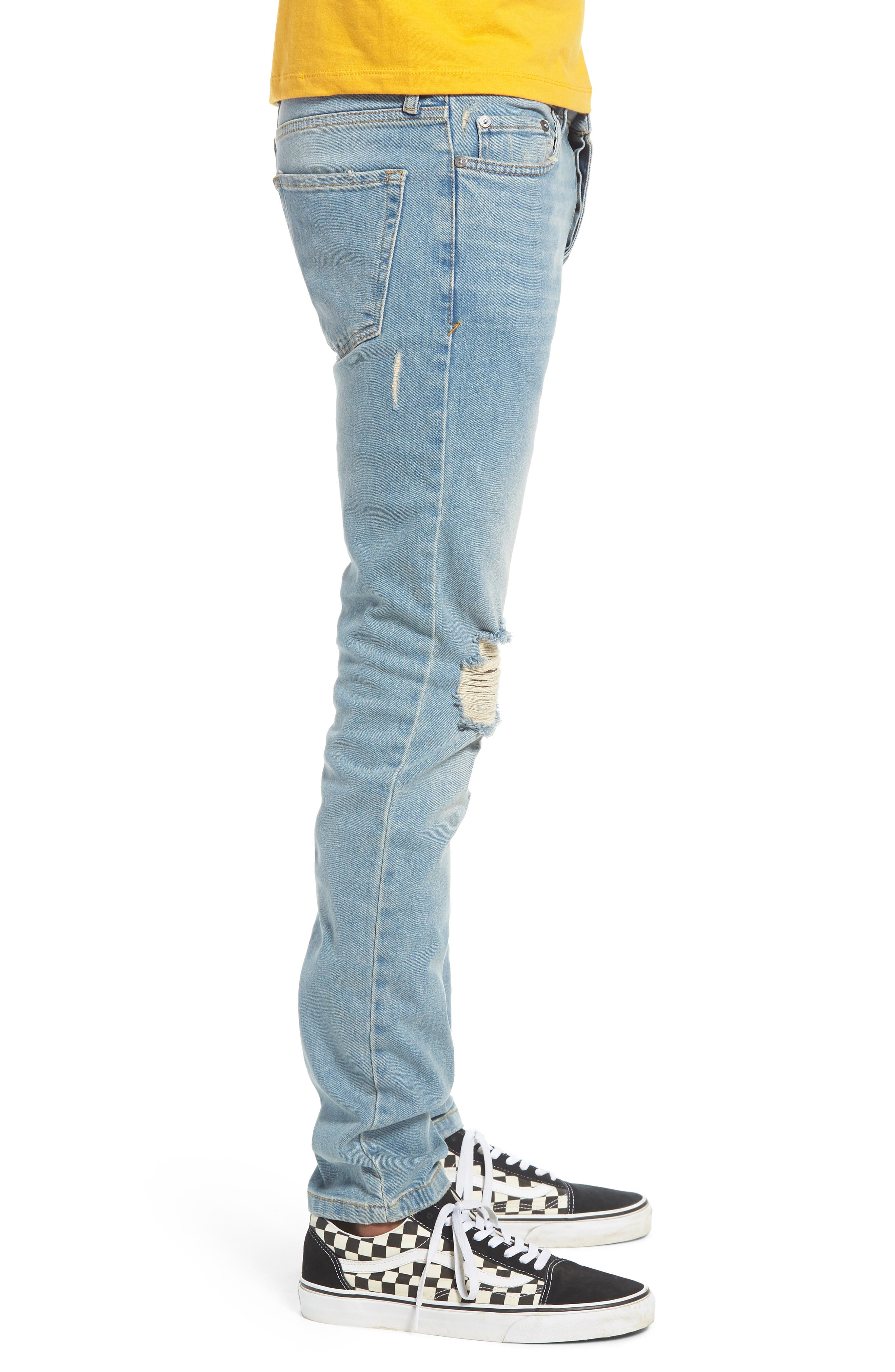 TOPMAN, Ripped Stretch Skinny Jeans, Alternate thumbnail 4, color, LIGHT WASH DENIM