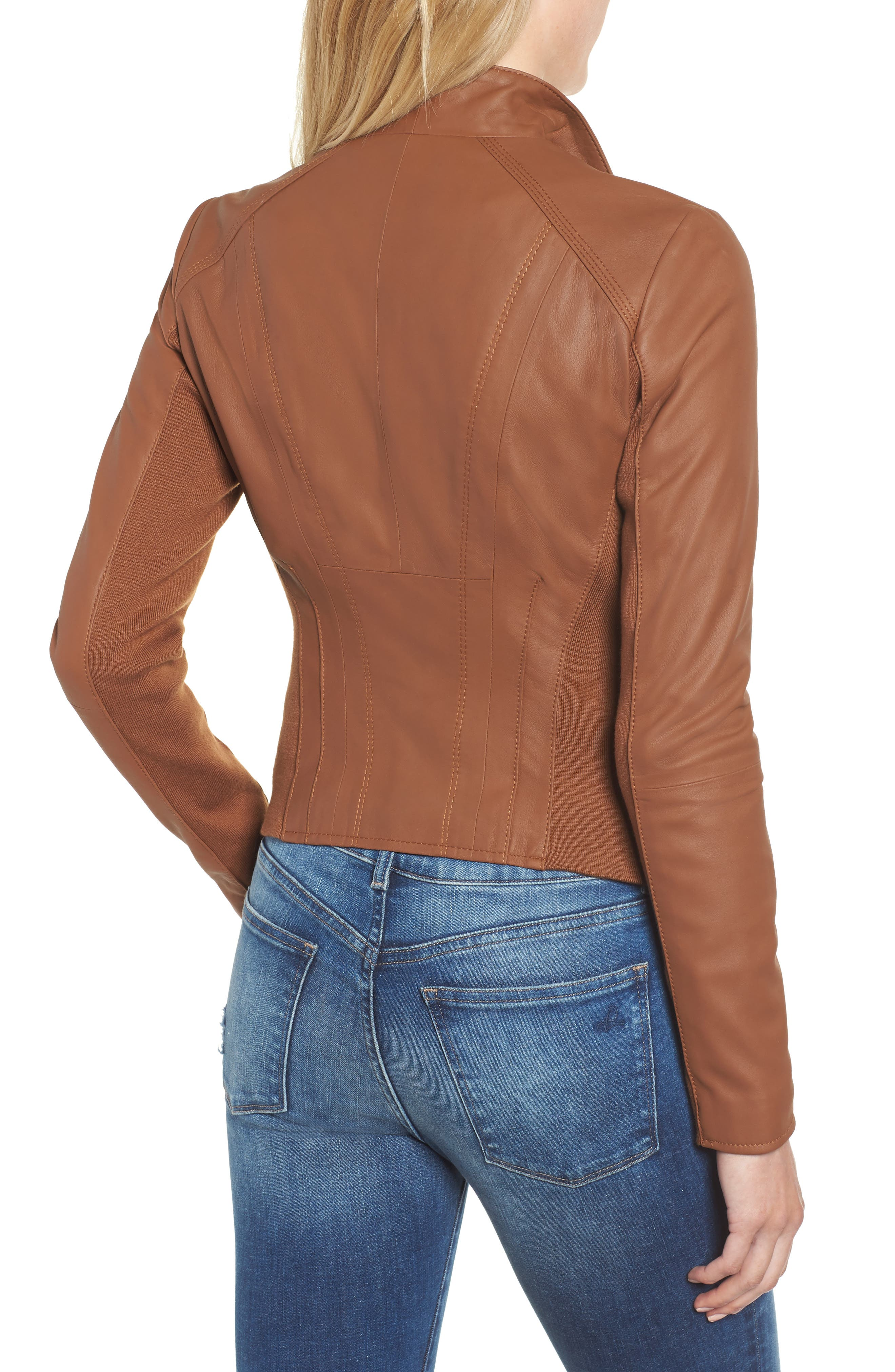ANDREW MARC, Marc New York by Andrew Marc Felix Stand Collar Leather Jacket, Alternate thumbnail 2, color, WHISKEY