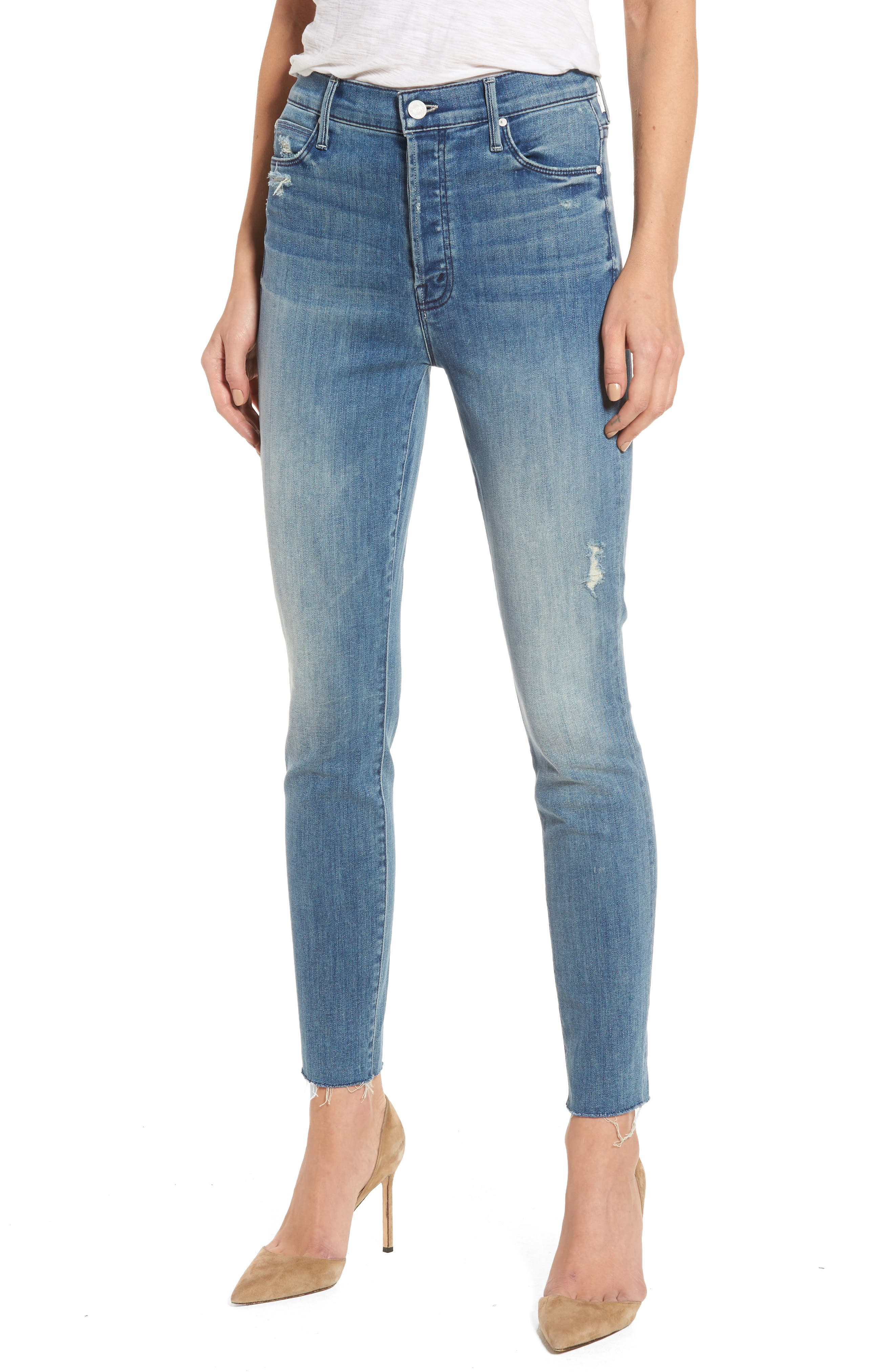MOTHER, The Stunner Frayed Ankle Skinny Jeans, Main thumbnail 1, color, GRAFITTI GIRL