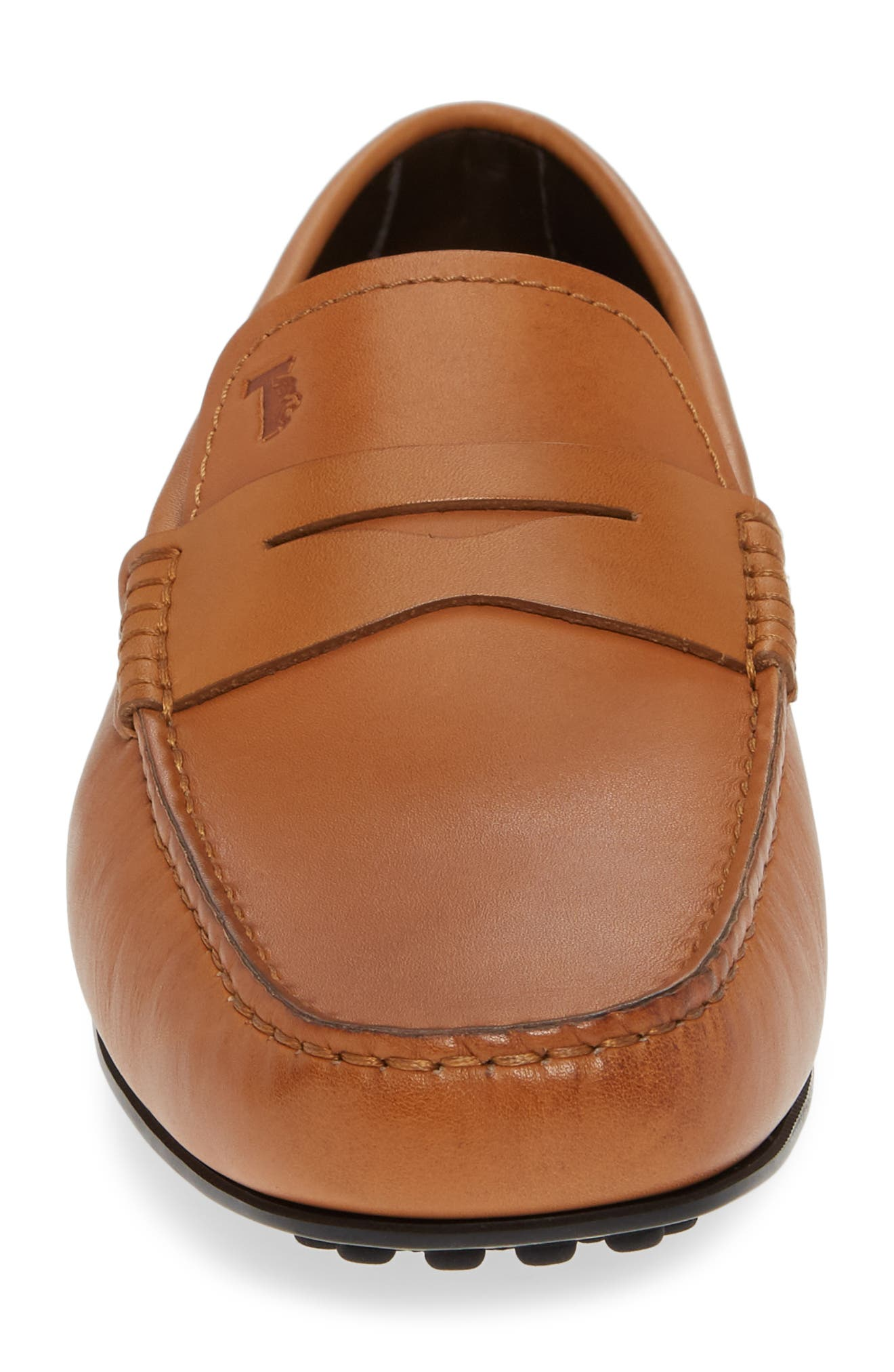 TOD'S, 'City' Penny Driving Shoe, Alternate thumbnail 4, color, BROWN/BROWN