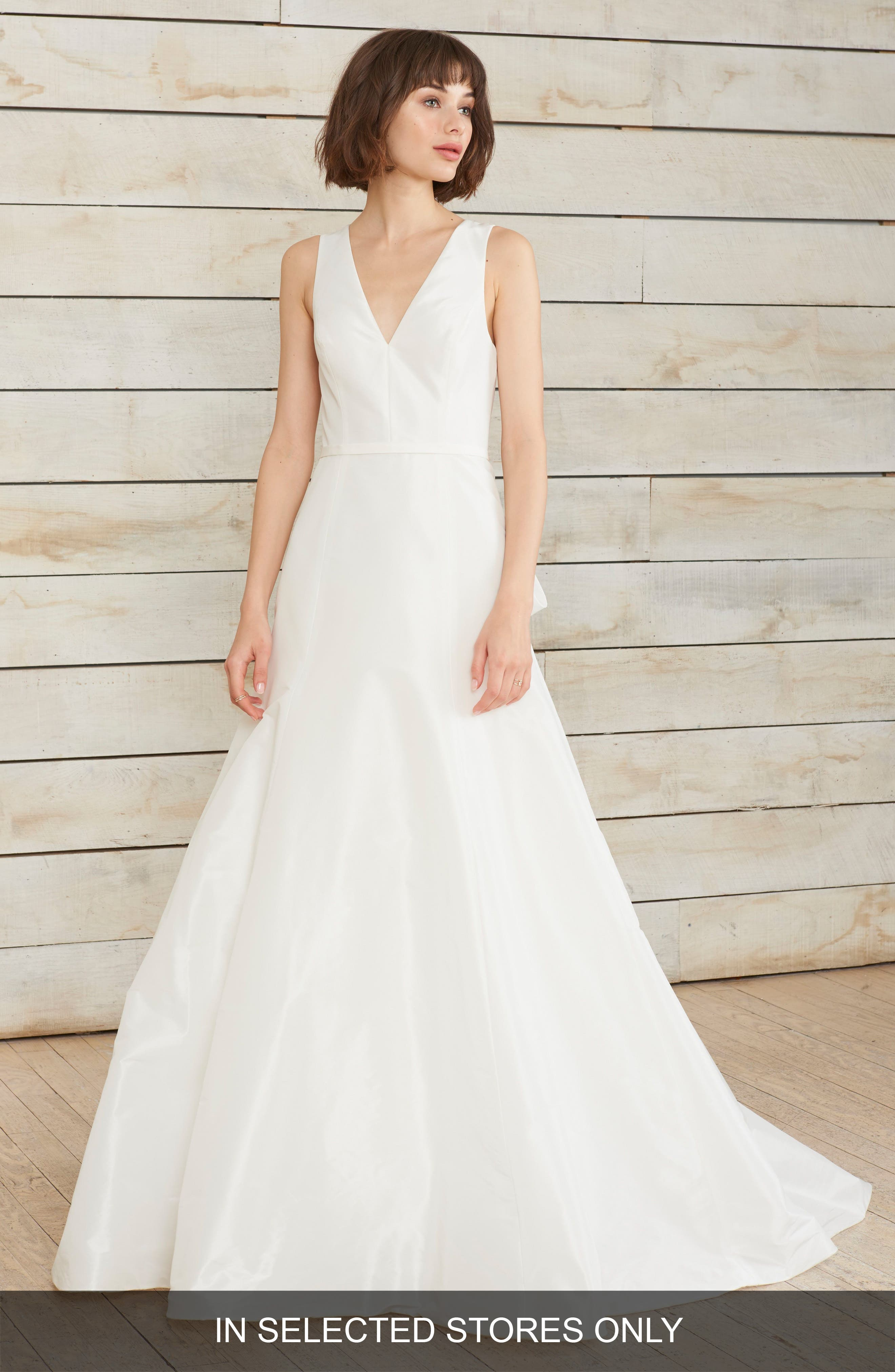 Nouvelle Amsale Dillon Illusion Back Fit & Flare Gown, Size IN STORE ONLY - White