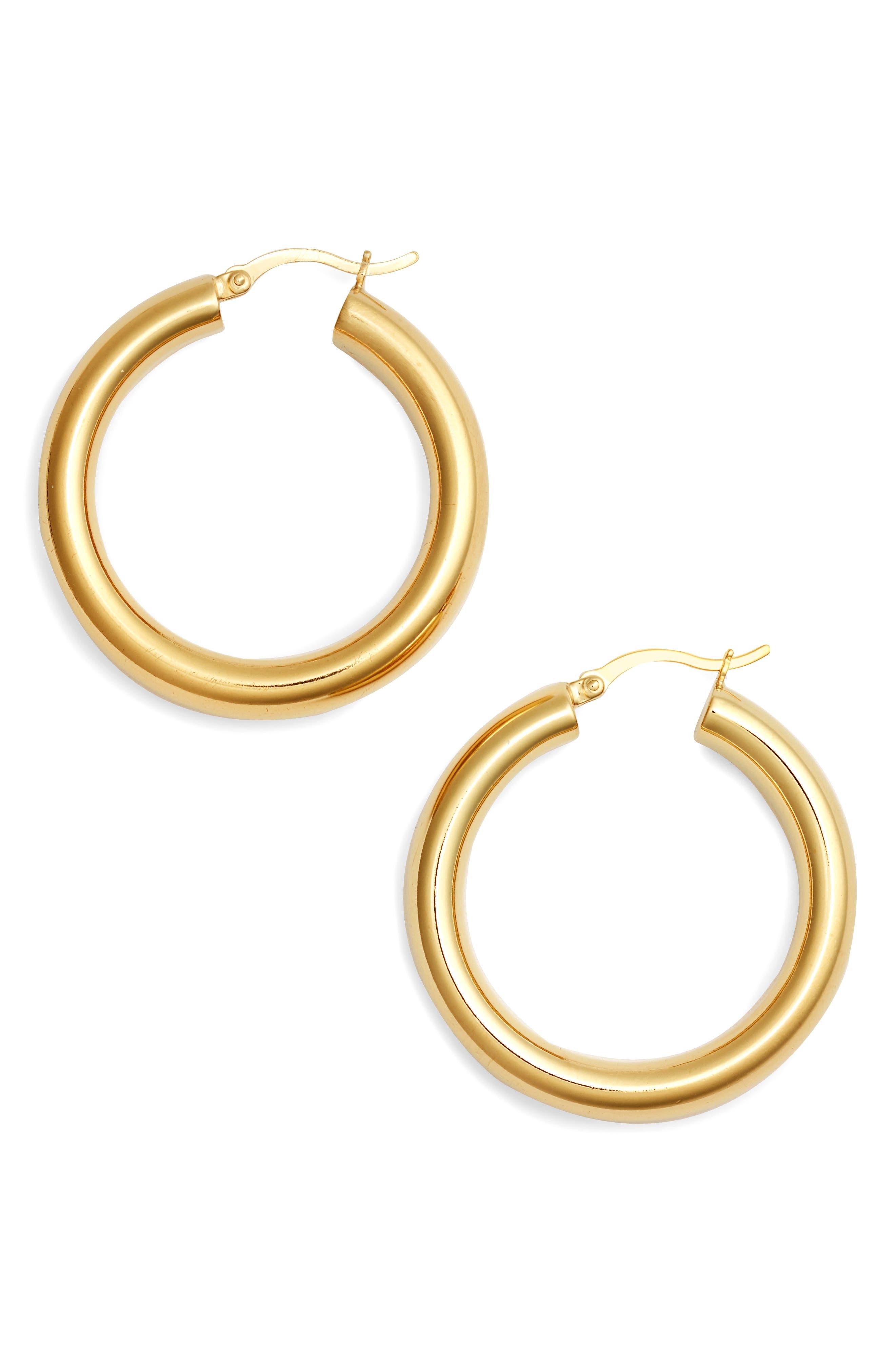 ARGENTO VIVO, Small Hoop Earrings, Main thumbnail 1, color, GOLD