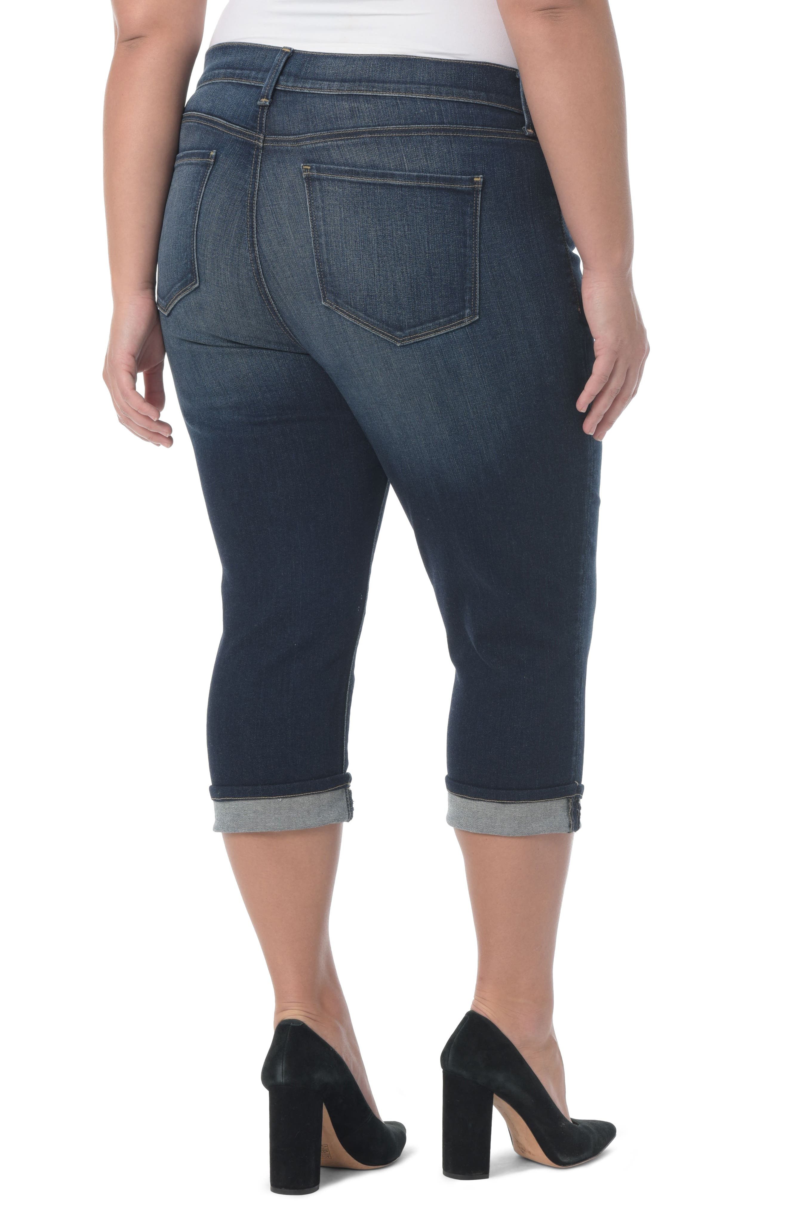 NYDJ, Marilyn Crop Cuff Jeans, Alternate thumbnail 2, color, BEZEL