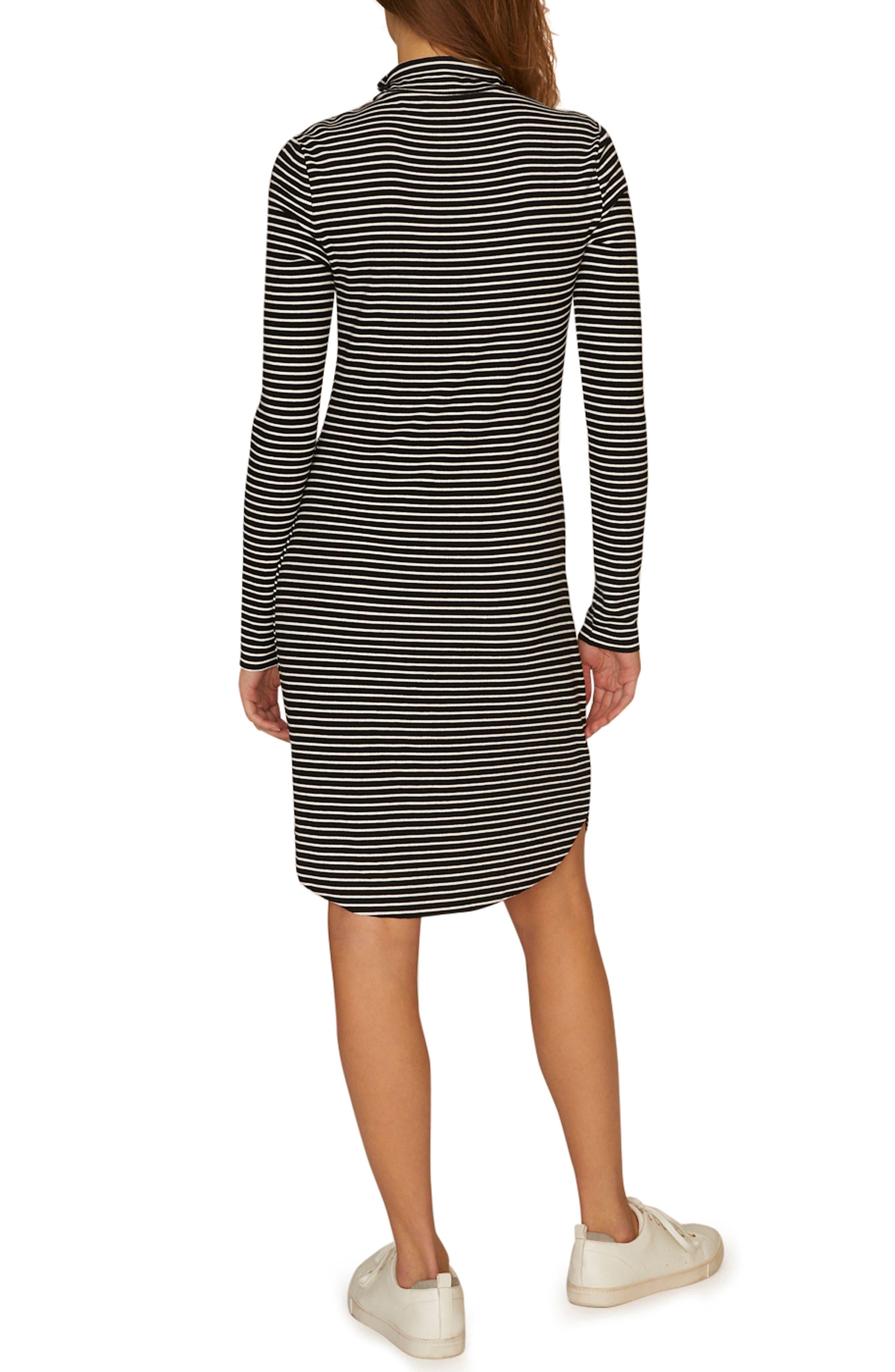 SANCTUARY, Essentials Stripe Mock Neck Dress, Alternate thumbnail 2, color, CLASSIC STRIPE BLACK