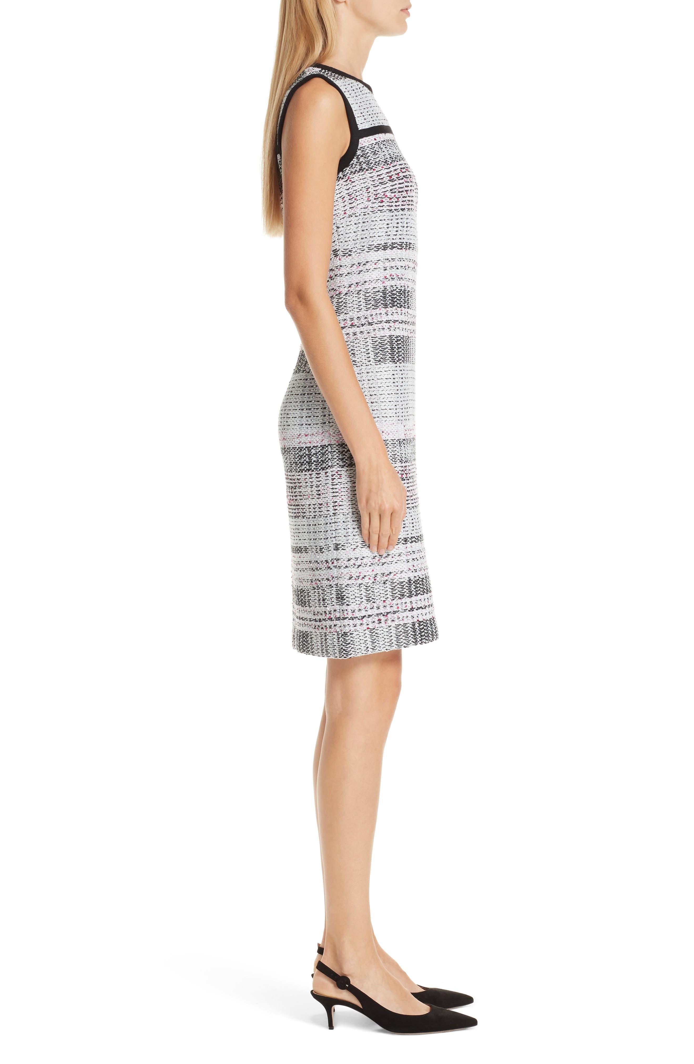 ST. JOHN COLLECTION, Bianca Plaid Knit Sheath Dress, Alternate thumbnail 4, color, GREY MULTI