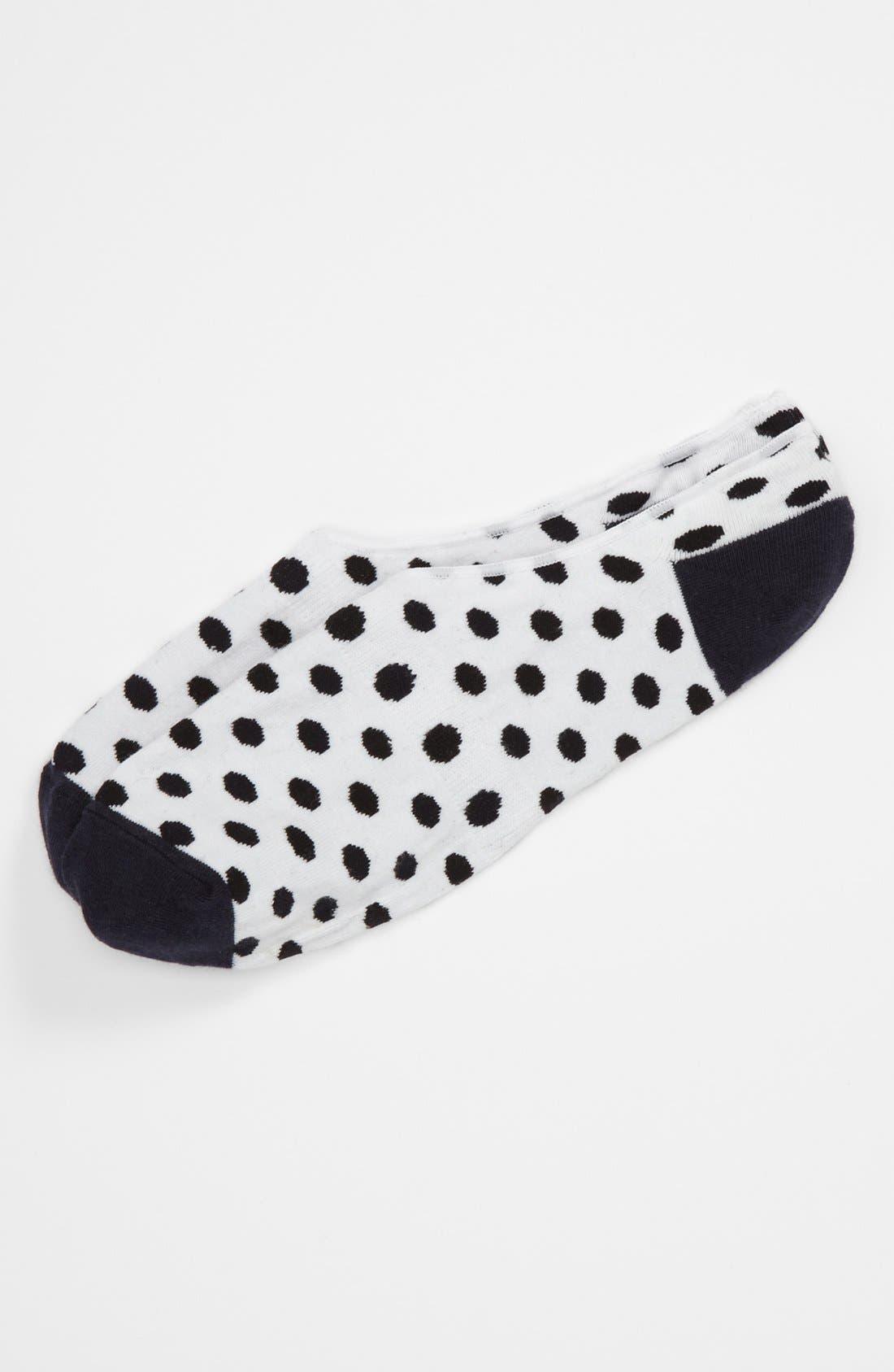 LORENZO UOMO Dot No-Show Socks, Main, color, 100