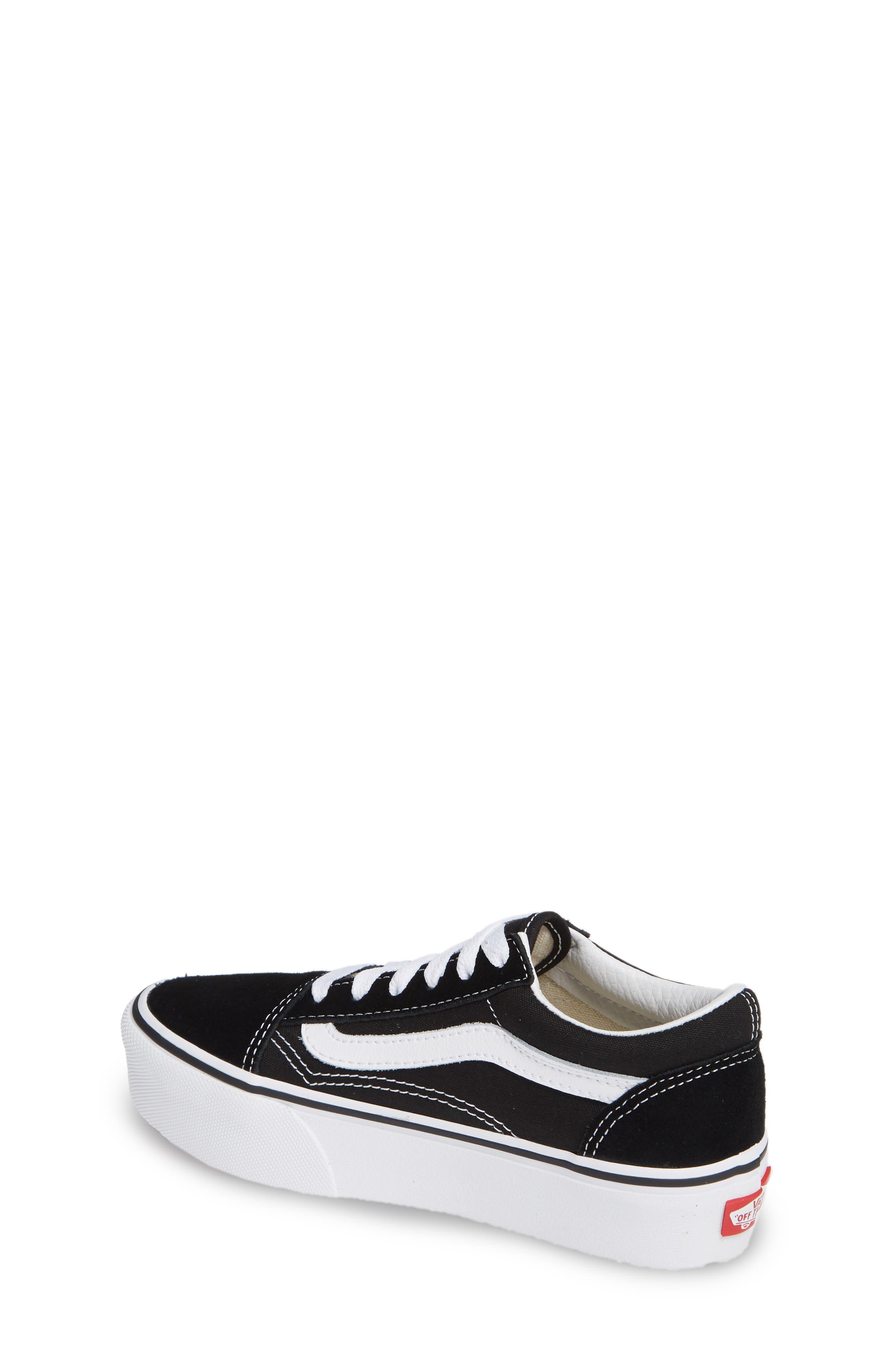 VANS, Old Skool Platform Sneaker, Alternate thumbnail 2, color, BLACK/ TRUE WHITE