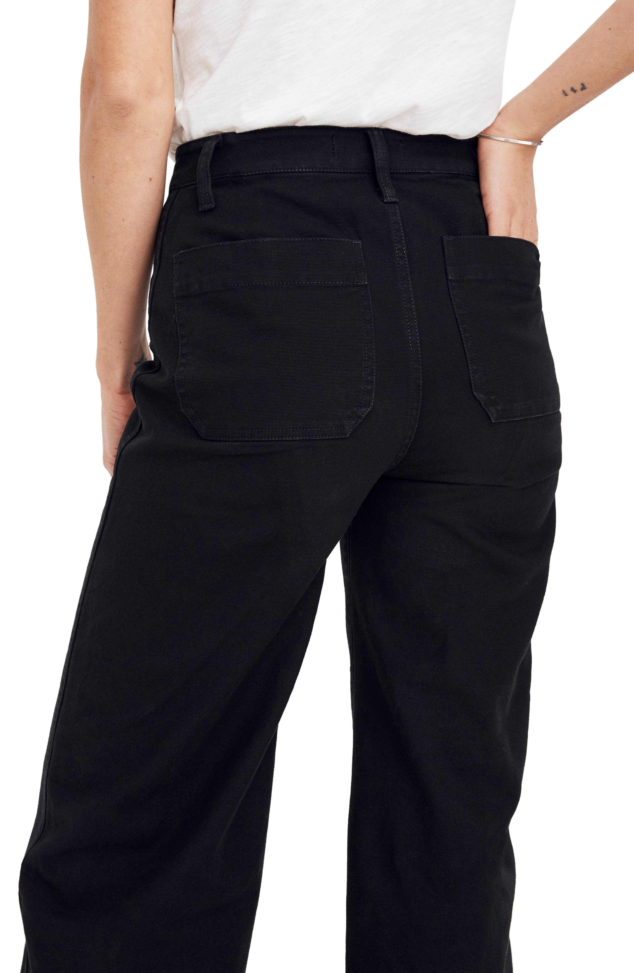 MADEWELL, Emmett Crop Wide Leg Pants, Alternate thumbnail 5, color, CLASSIC BLACK