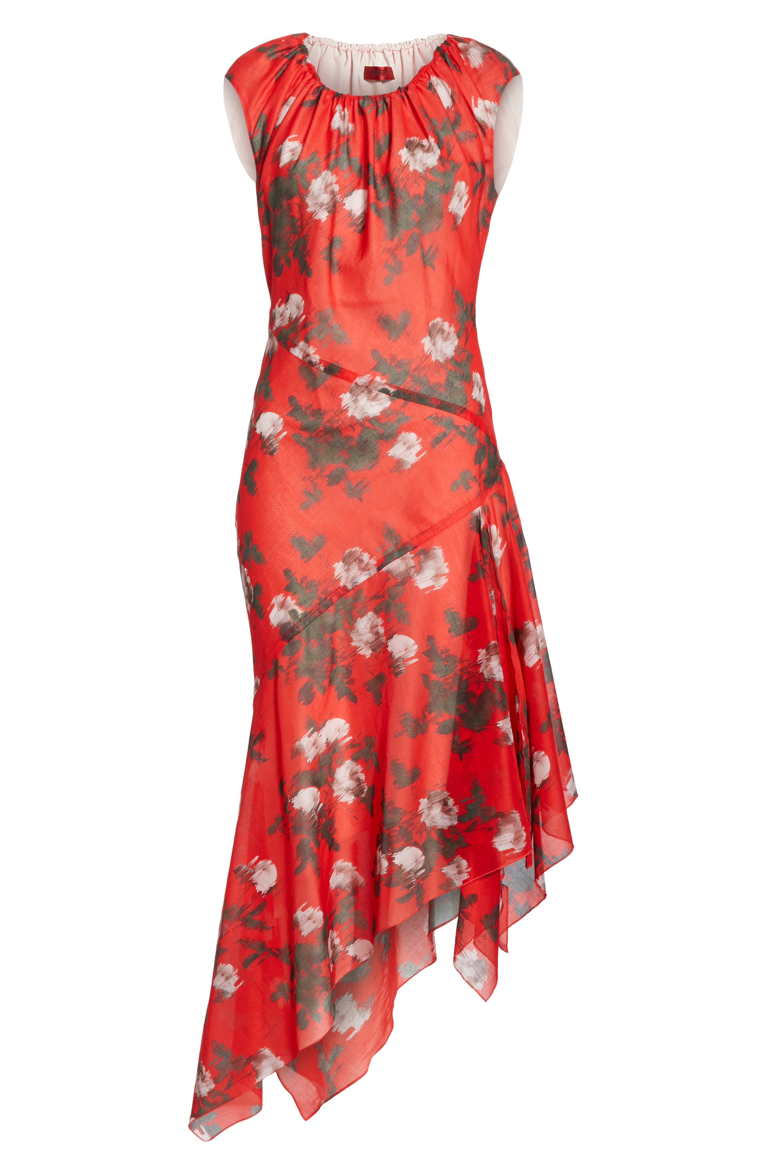 HUGO, Kefesha Asymmetrical Midi Dress, Alternate thumbnail 6, color, RED