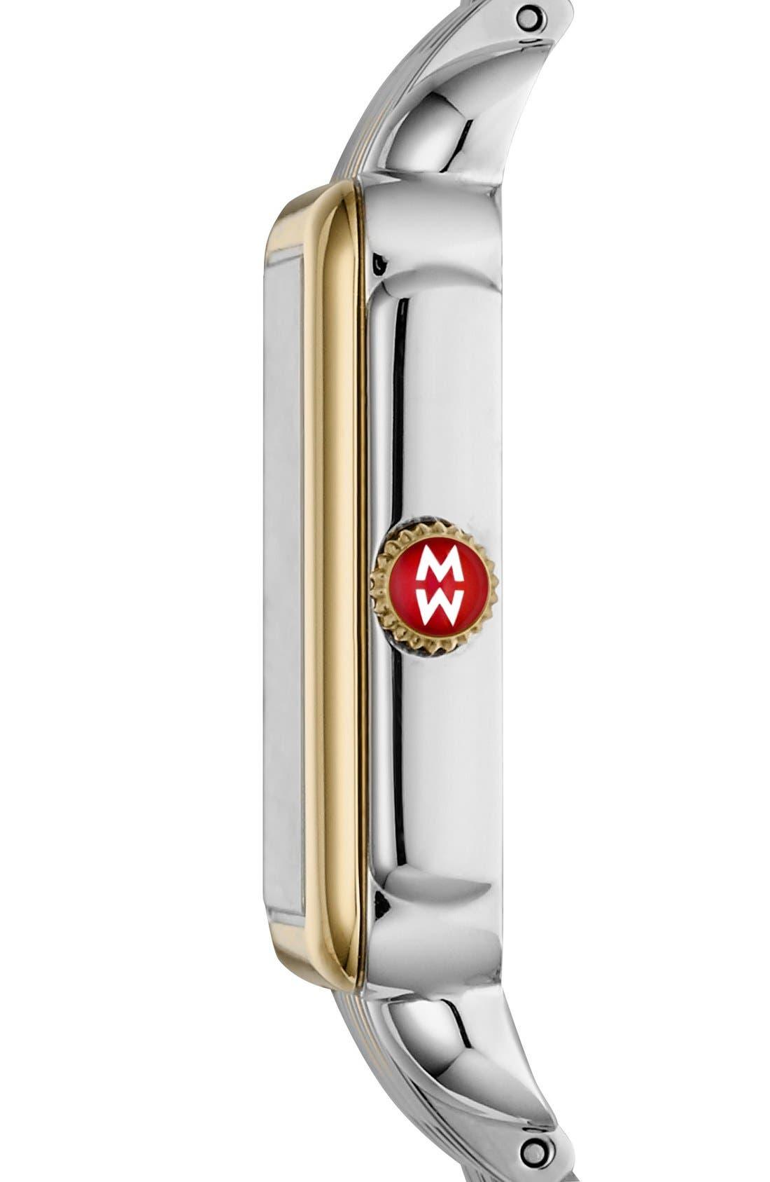 MICHELE, Deco II Mid 16mm Bracelet Watchband, Alternate thumbnail 7, color, SILVER/ GOLD