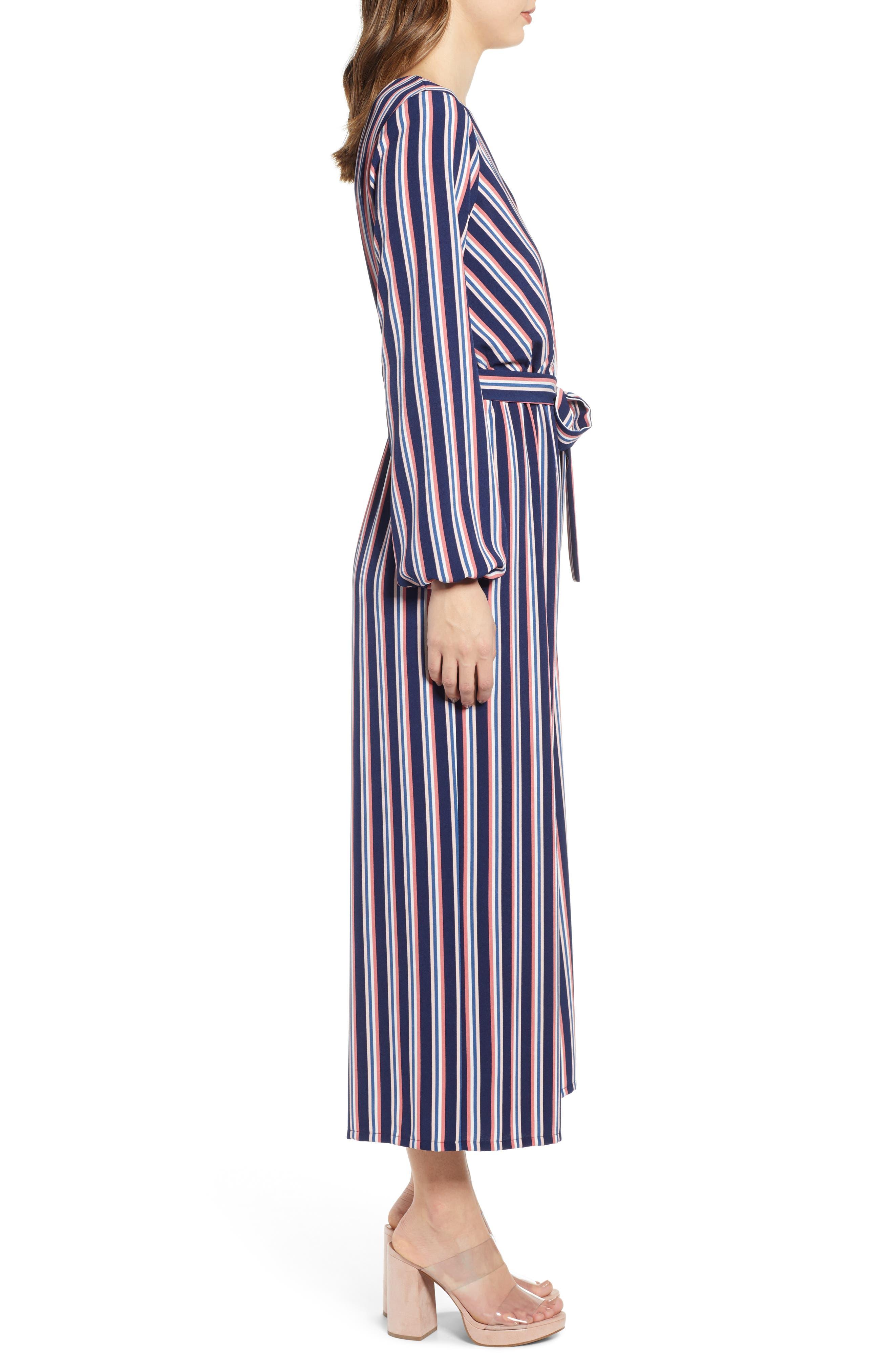 LEITH, Stripe Surplice Jumpsuit, Alternate thumbnail 4, color, NAVY PEACOAT FEM STRIPE