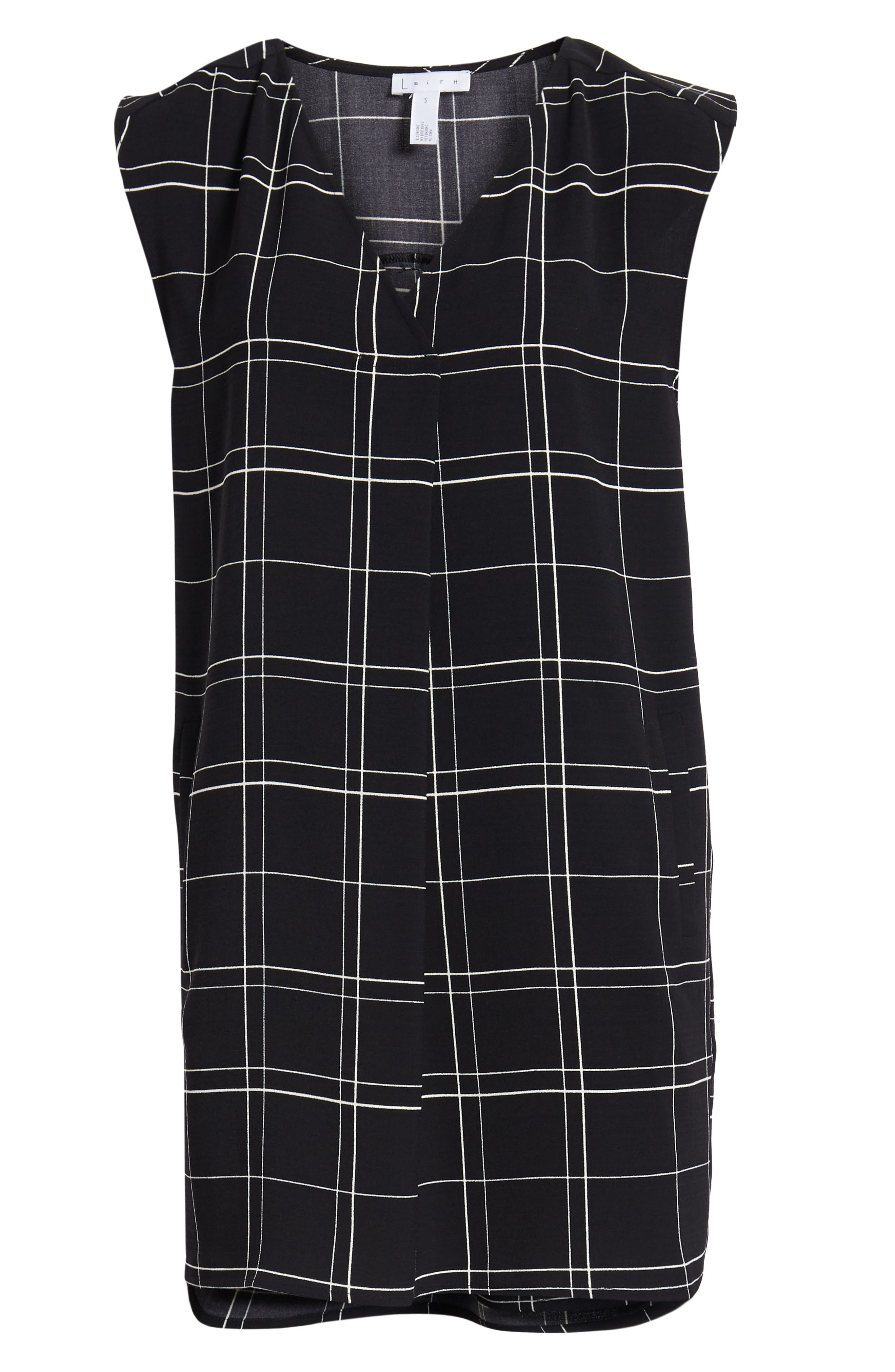 LEITH, Everyday Dress, Alternate thumbnail 7, color, BLACK GLAM CITY CHECK
