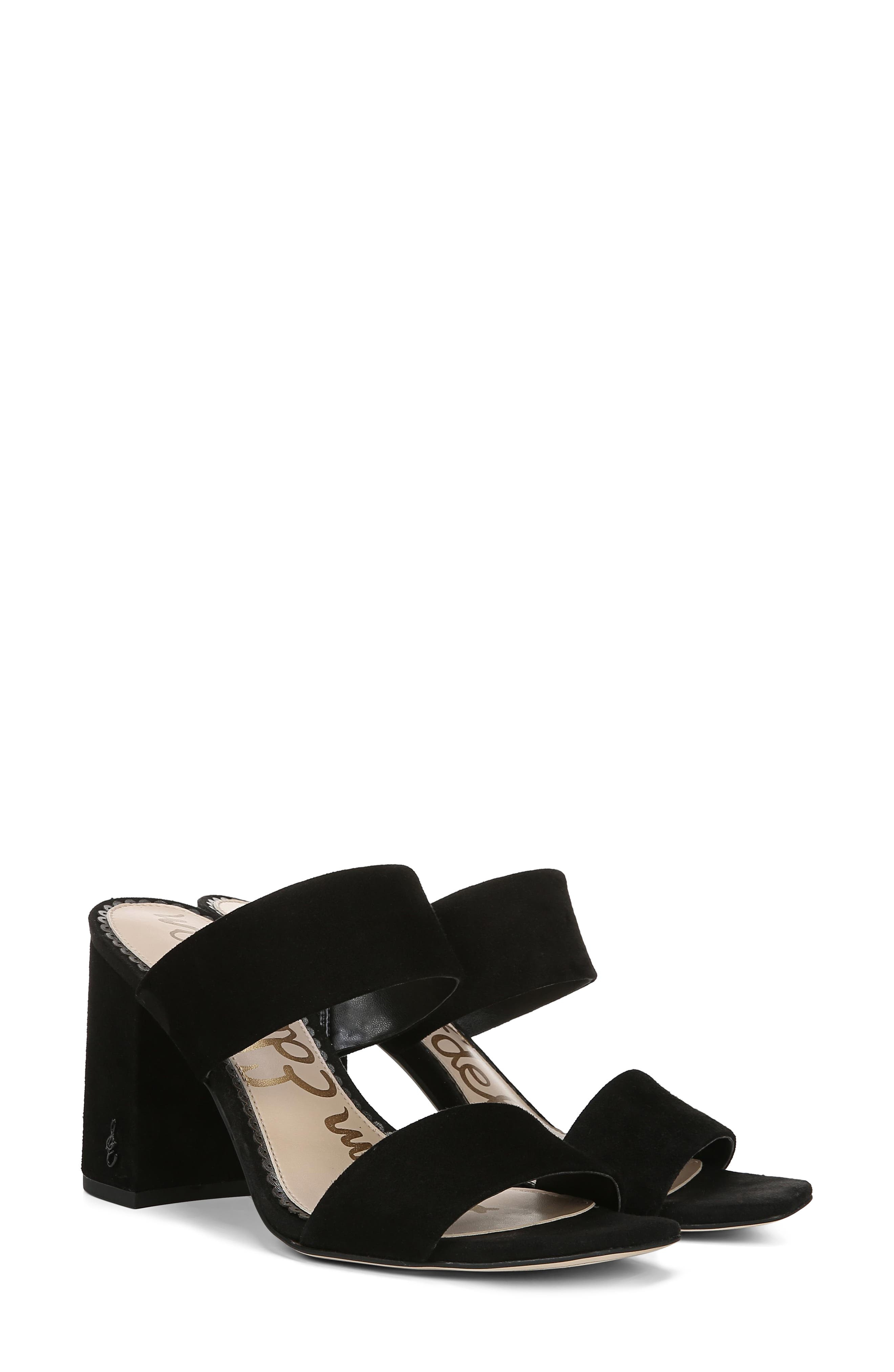 SAM EDELMAN, Delaney Sandal, Alternate thumbnail 9, color, BLACK SUEDE