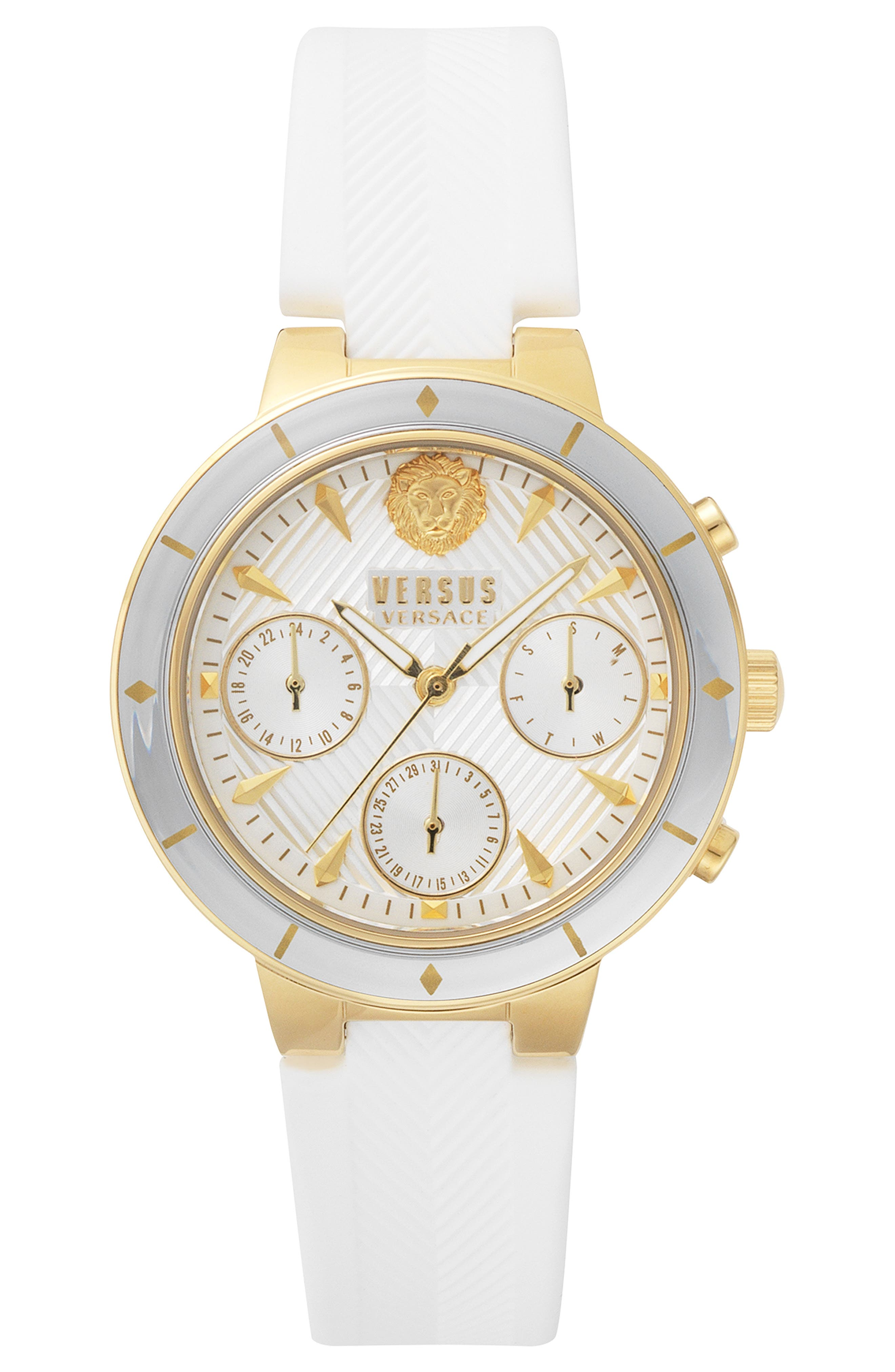 VERSUS VERSACE, Harbour Heights Silicone Strap Watch, 38mm, Main thumbnail 1, color, WHITE/ GOLD