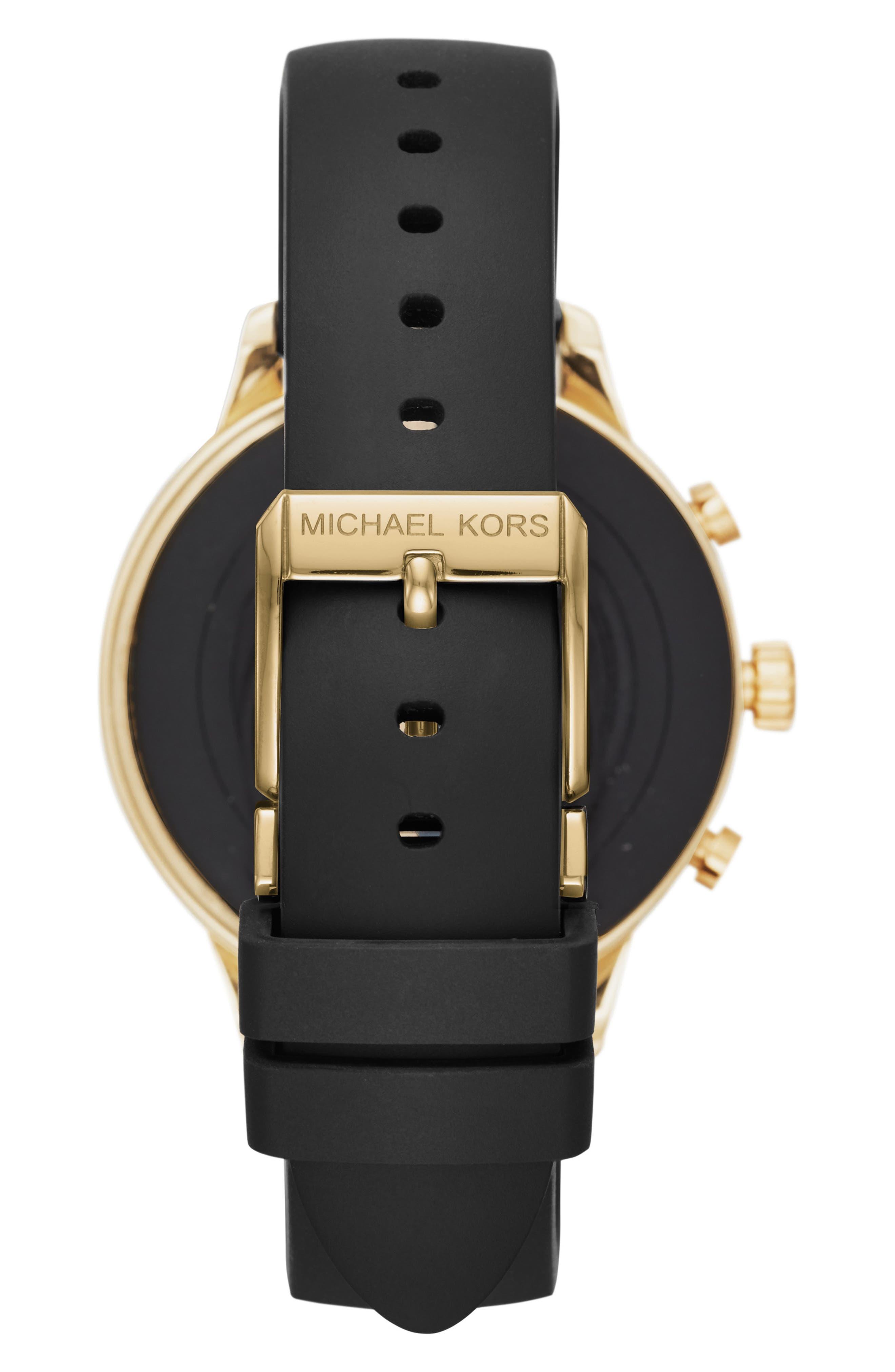 MICHAEL KORS, MICHAEL Michael Kors Access Runway Smart Watch, 41mm, Alternate thumbnail 2, color, BLACK/ GOLD