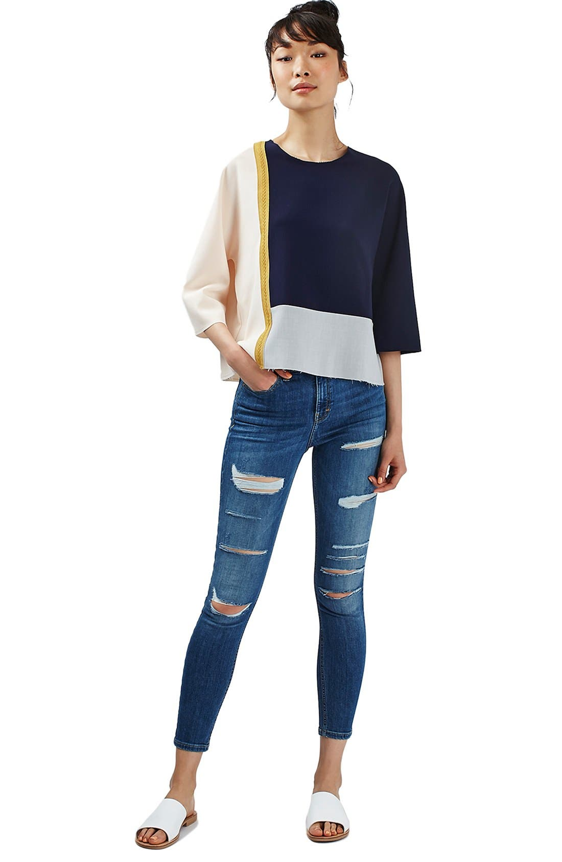 TOPSHOP, Colorblock Boxy Top, Alternate thumbnail 2, color, 410