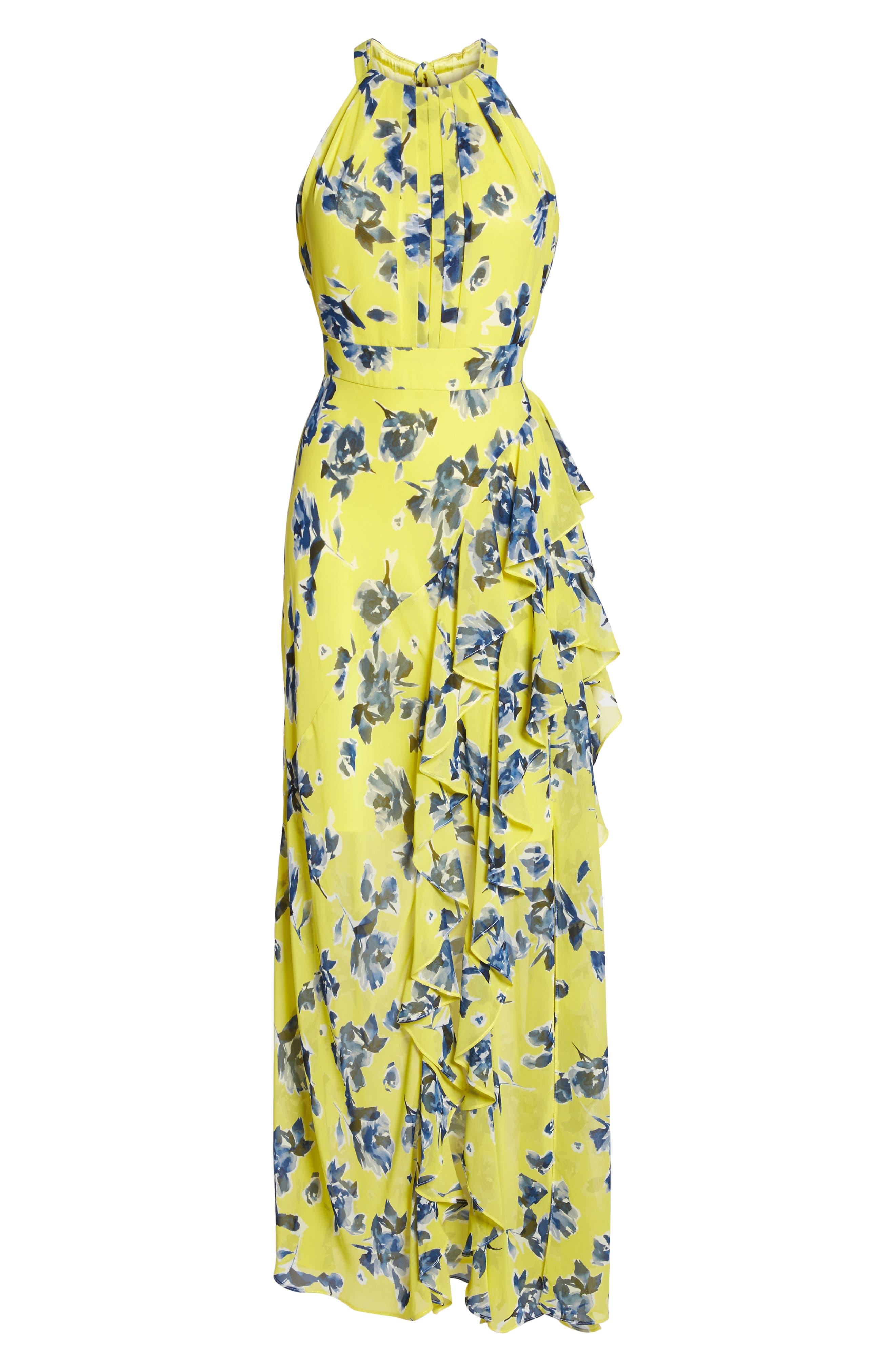 ELIZA J, Halter Ruffle Maxi Dress, Alternate thumbnail 6, color, YELLOW