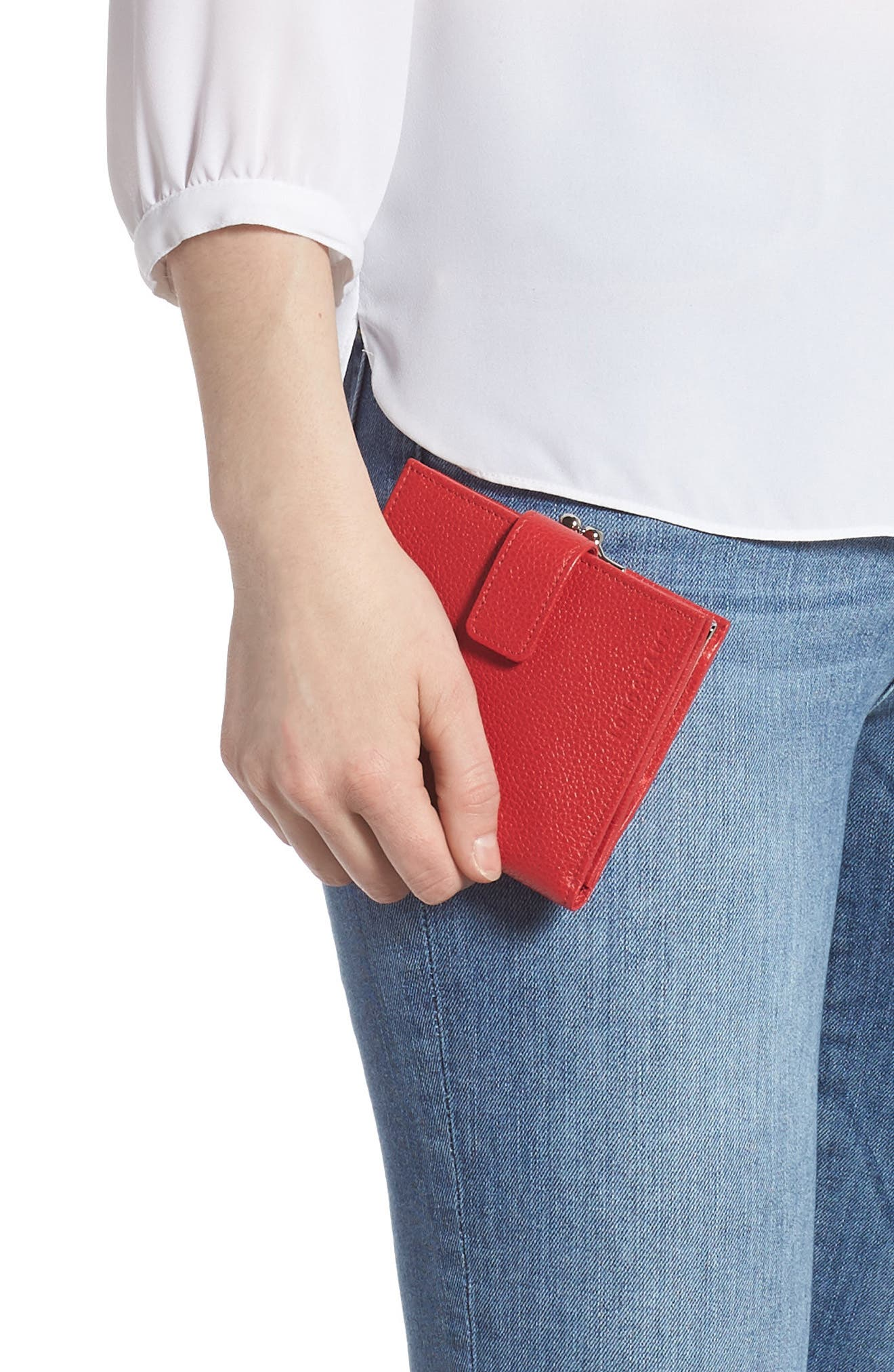 LONGCHAMP, 'Le Foulonne' Pebbled Leather Wallet, Alternate thumbnail 3, color, RED ORANGE