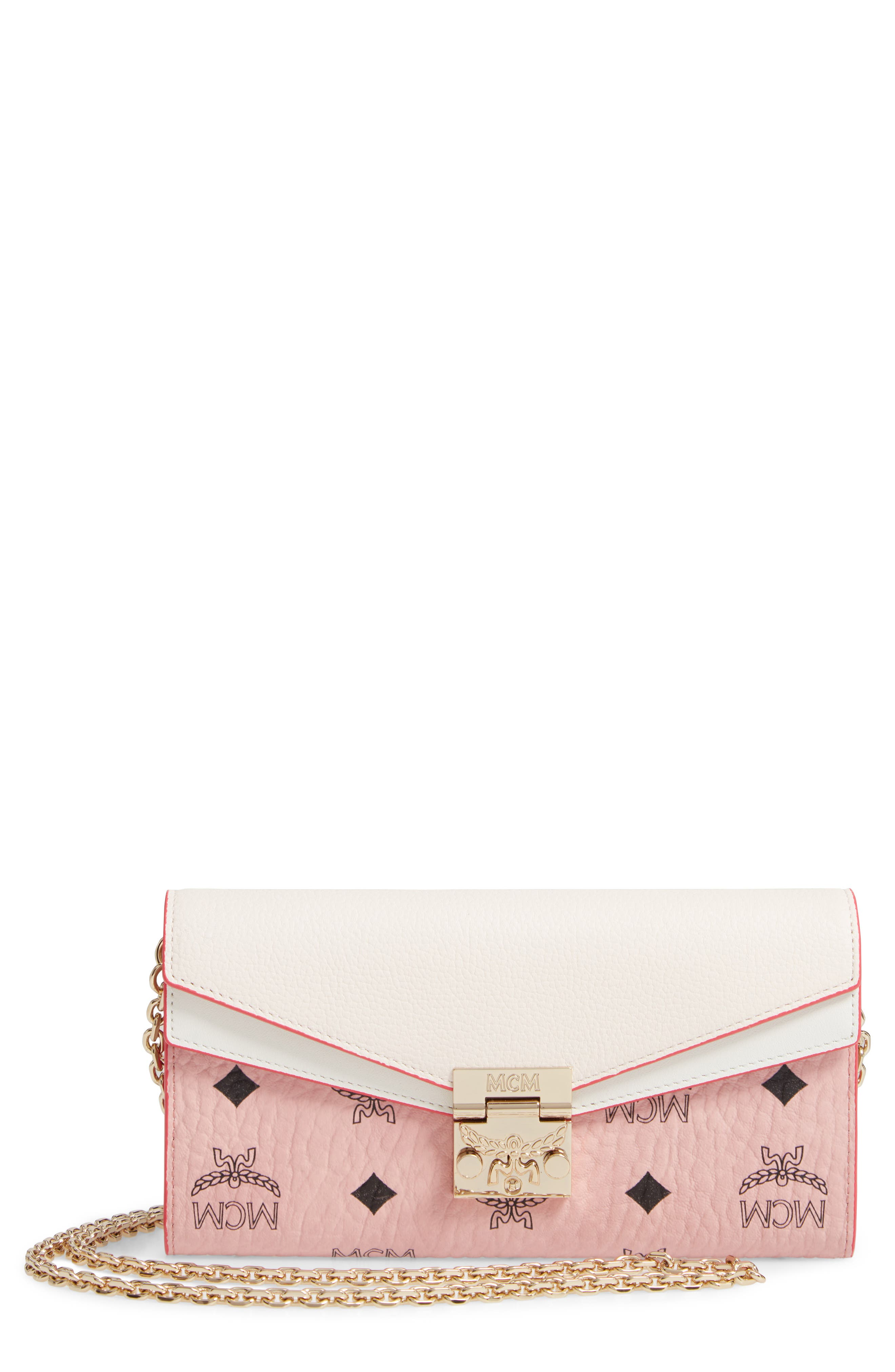MCM, Patricia Visetos Leather Wallet on a Chain, Main thumbnail 1, color, SOFT PINK SHELL