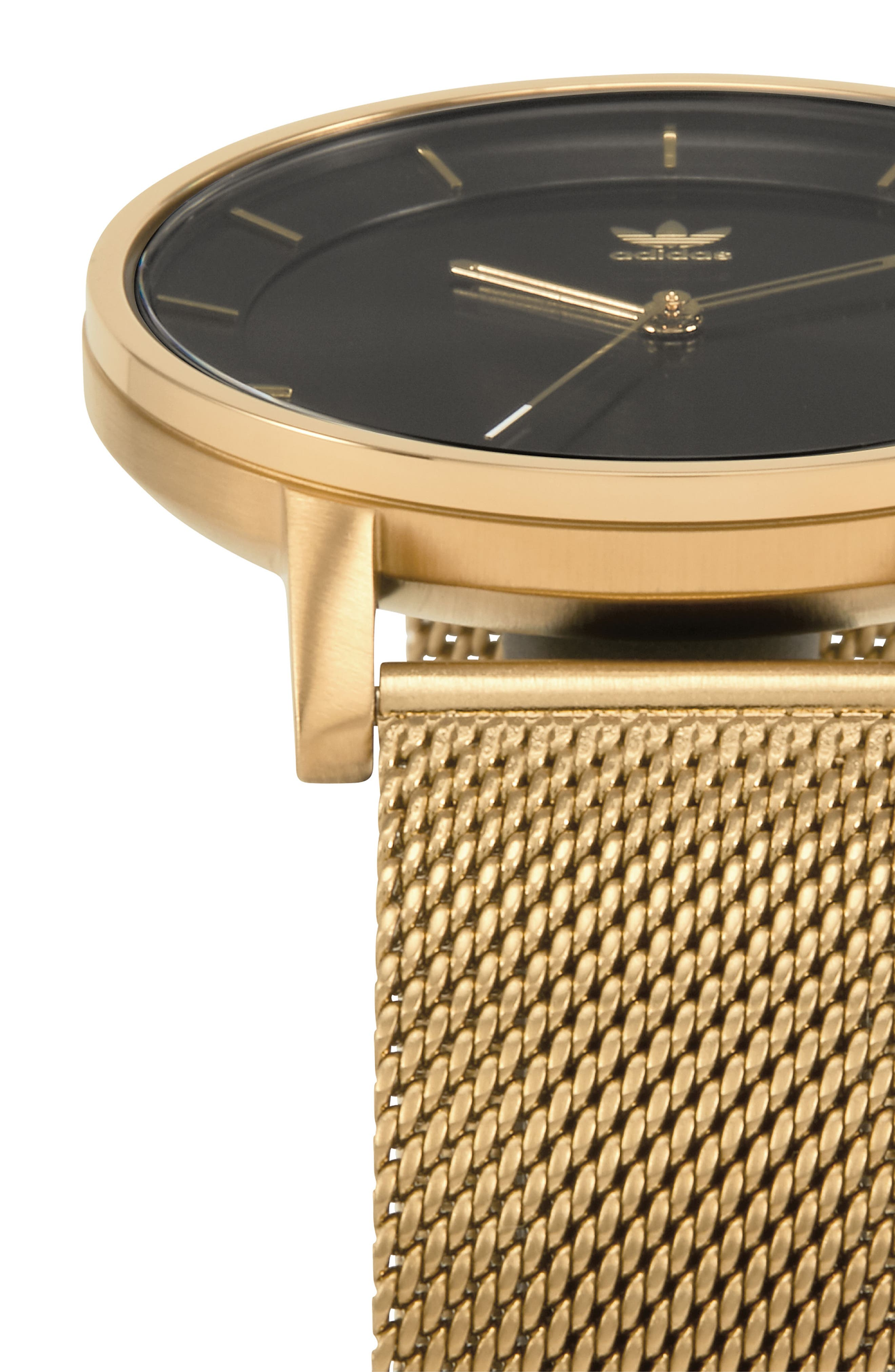 ADIDAS, District Milanese Bracelet Watch, 40mm, Alternate thumbnail 3, color, GOLD/ BLACK