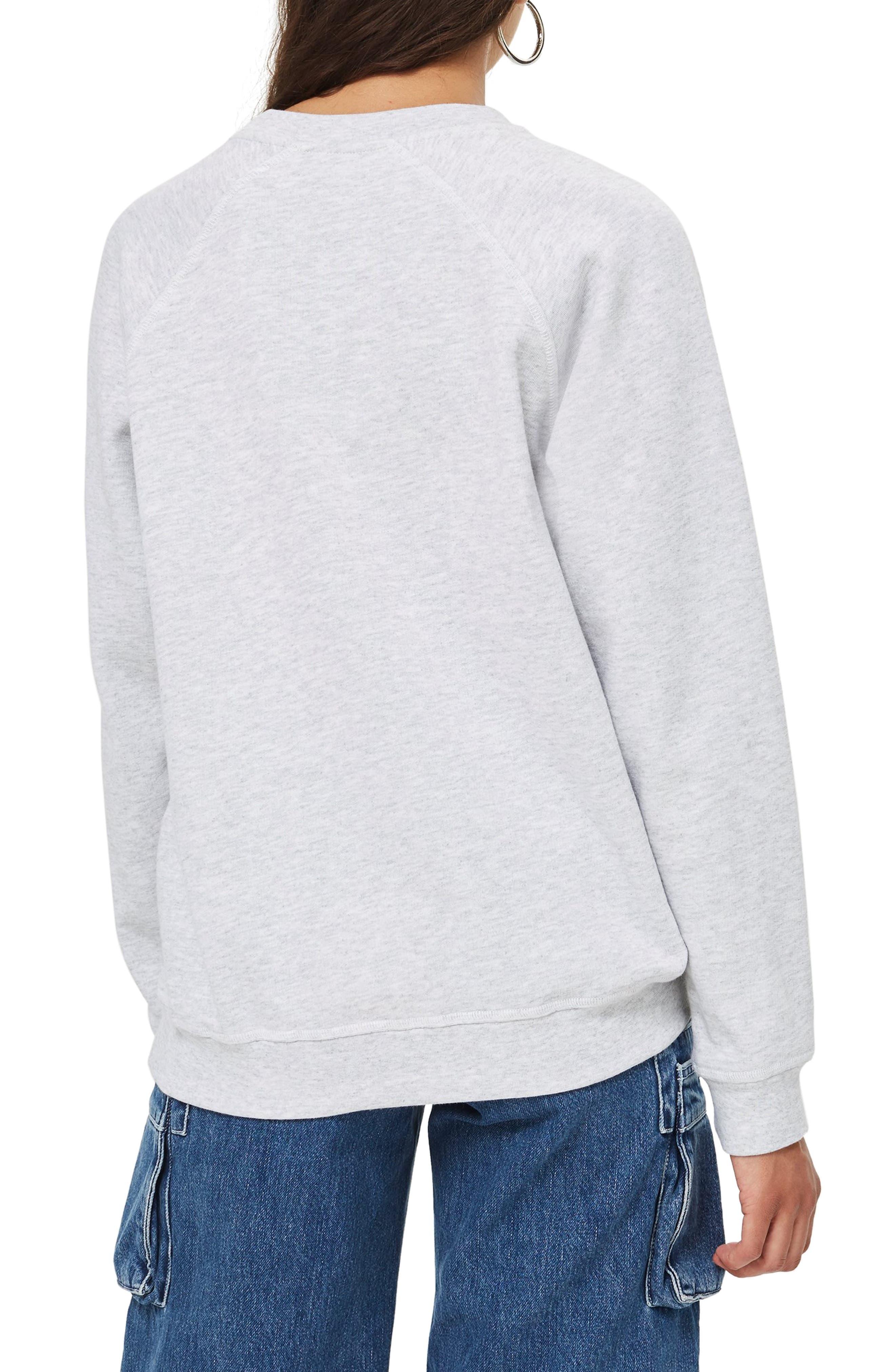TOPSHOP, Crewneck Sweatshirt, Alternate thumbnail 2, color, 020