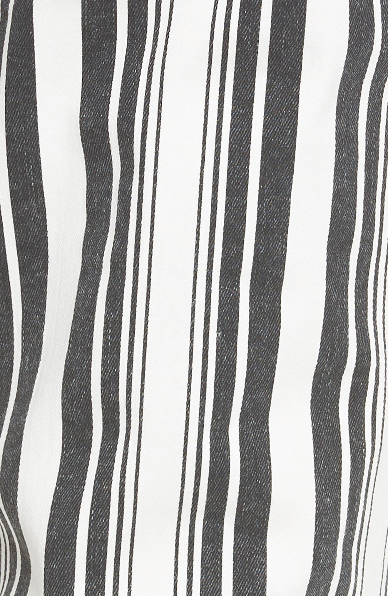 TINSEL, Stripe Crop Flare Jeans, Alternate thumbnail 6, color, WHITE BLACK