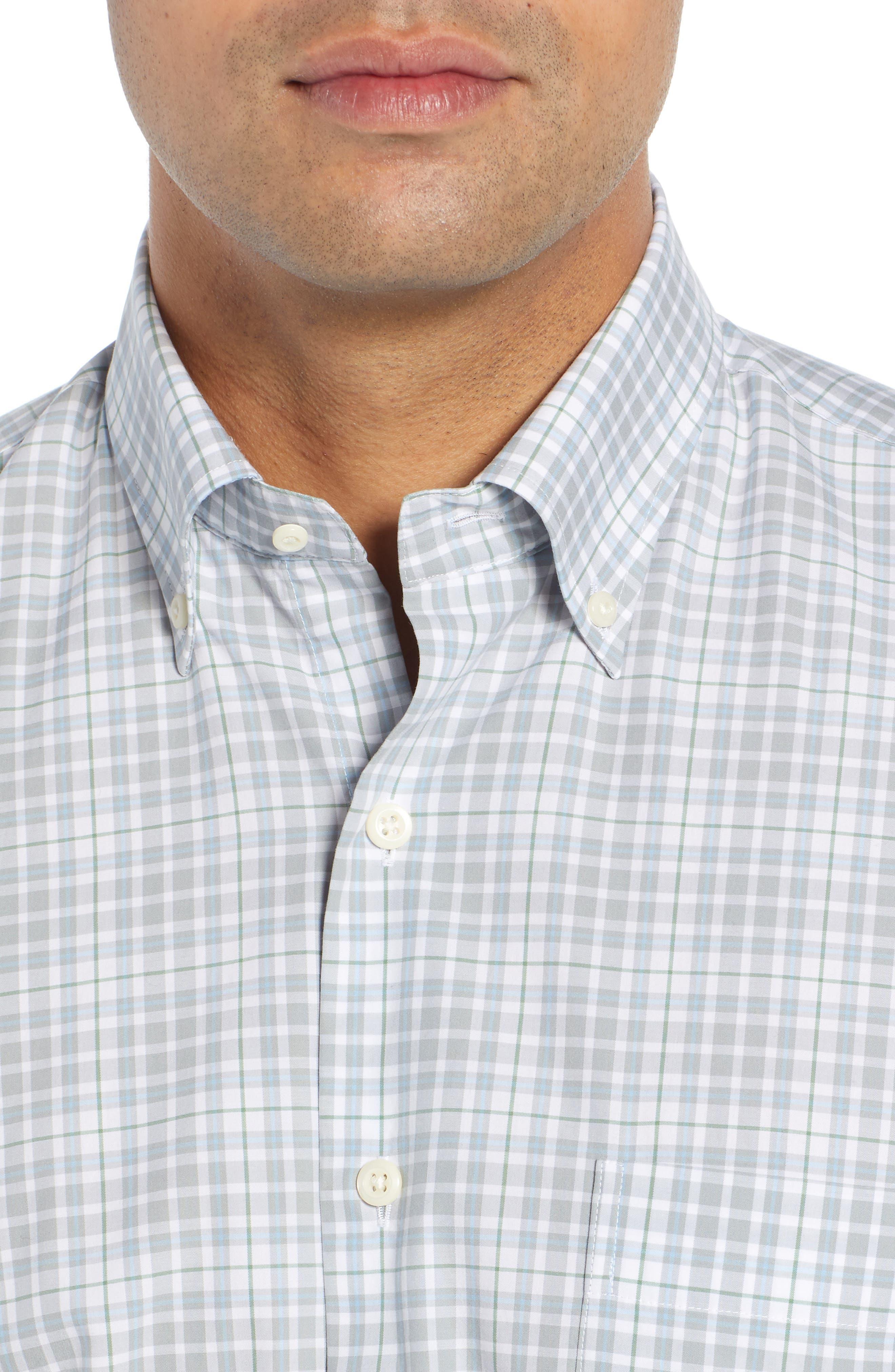 PETER MILLAR, Belltown Tartan Sport Shirt, Alternate thumbnail 2, color, GALE GREY