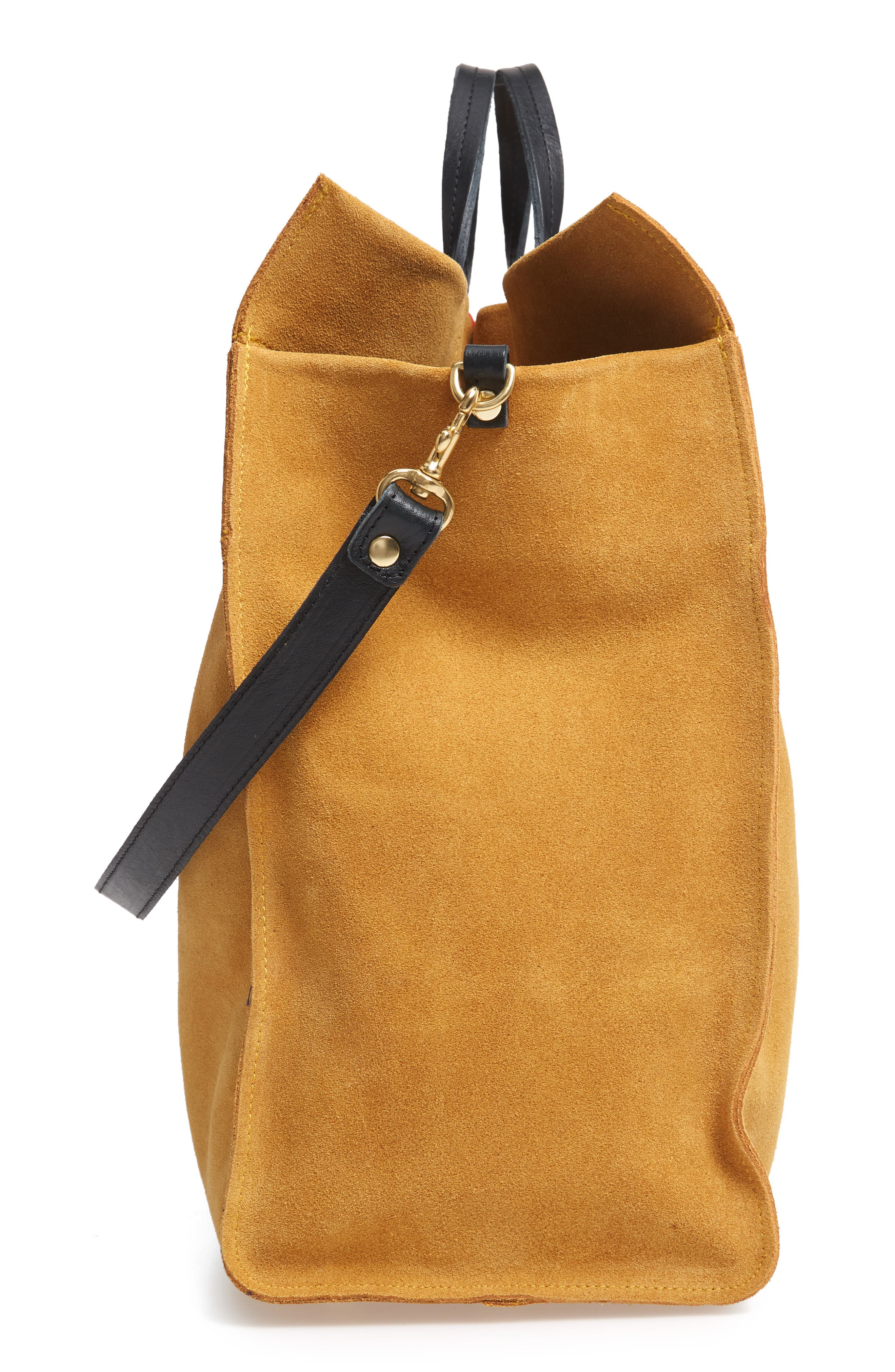 CLARE V., Simple Stripe Suede Tote, Alternate thumbnail 6, color, MUSTARD SUEDE