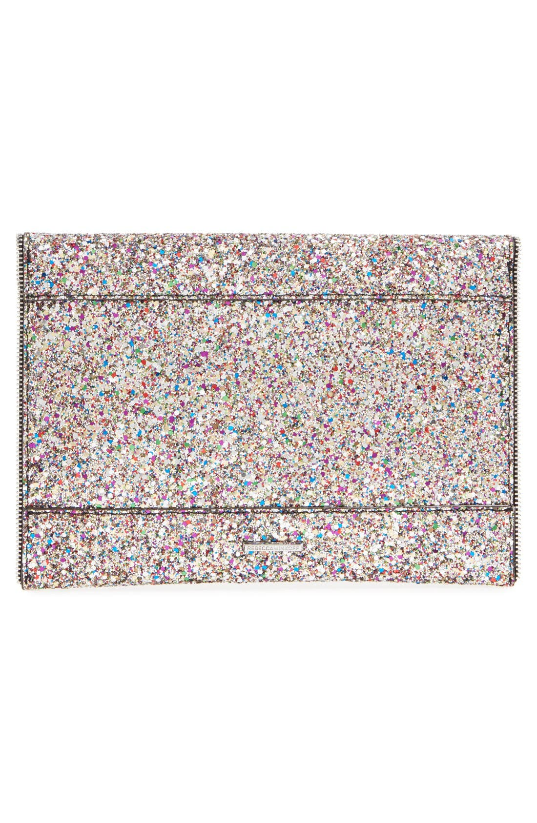 REBECCA MINKOFF, 'Leo' Envelope Clutch, Alternate thumbnail 3, color, SILVER/ SILVER HRDWR