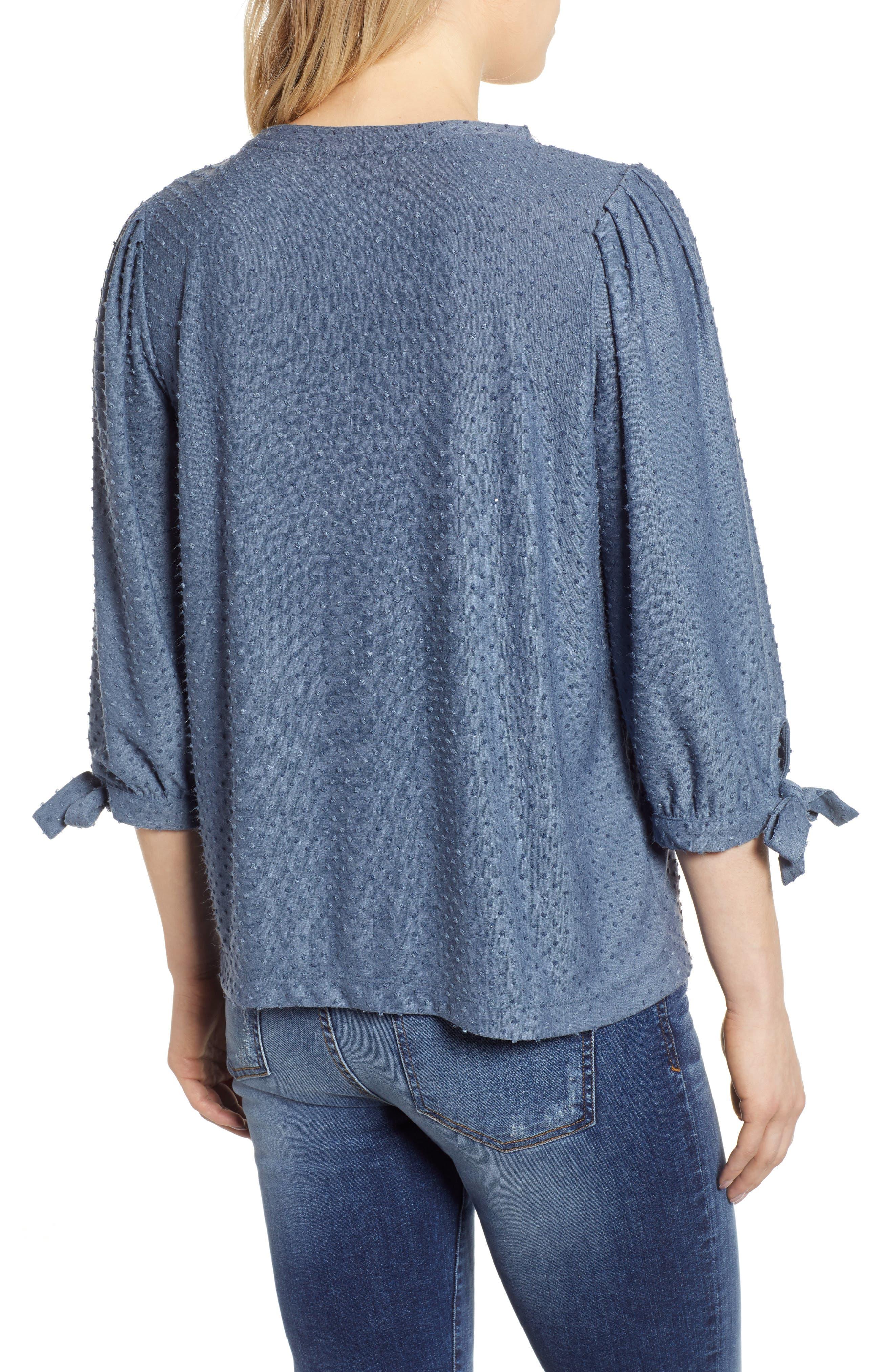 GIBSON, x International Women's Day Ruthie Clip Dot Tie Sleeve Blouse, Alternate thumbnail 2, color, DENIM