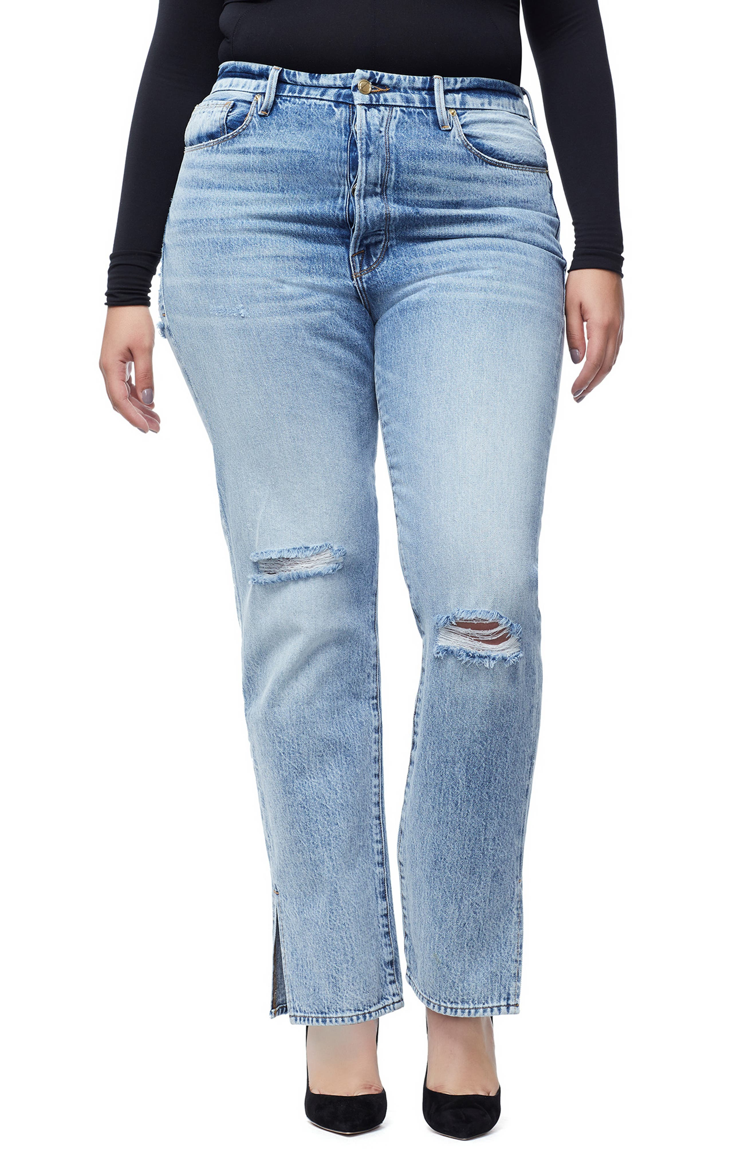 GOOD AMERICAN, Good Boy High Rise Ripped Boyfriend Jeans, Alternate thumbnail 2, color, BLUE 177